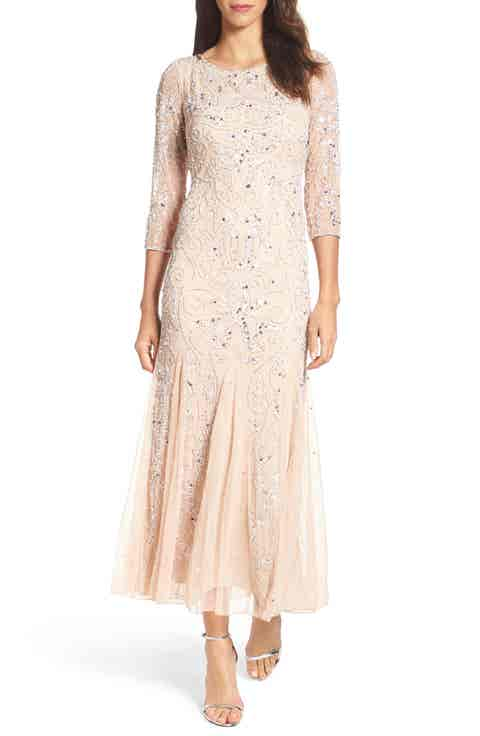 Pisarro Nights Embellished Mesh Gown (Regular   Petite)