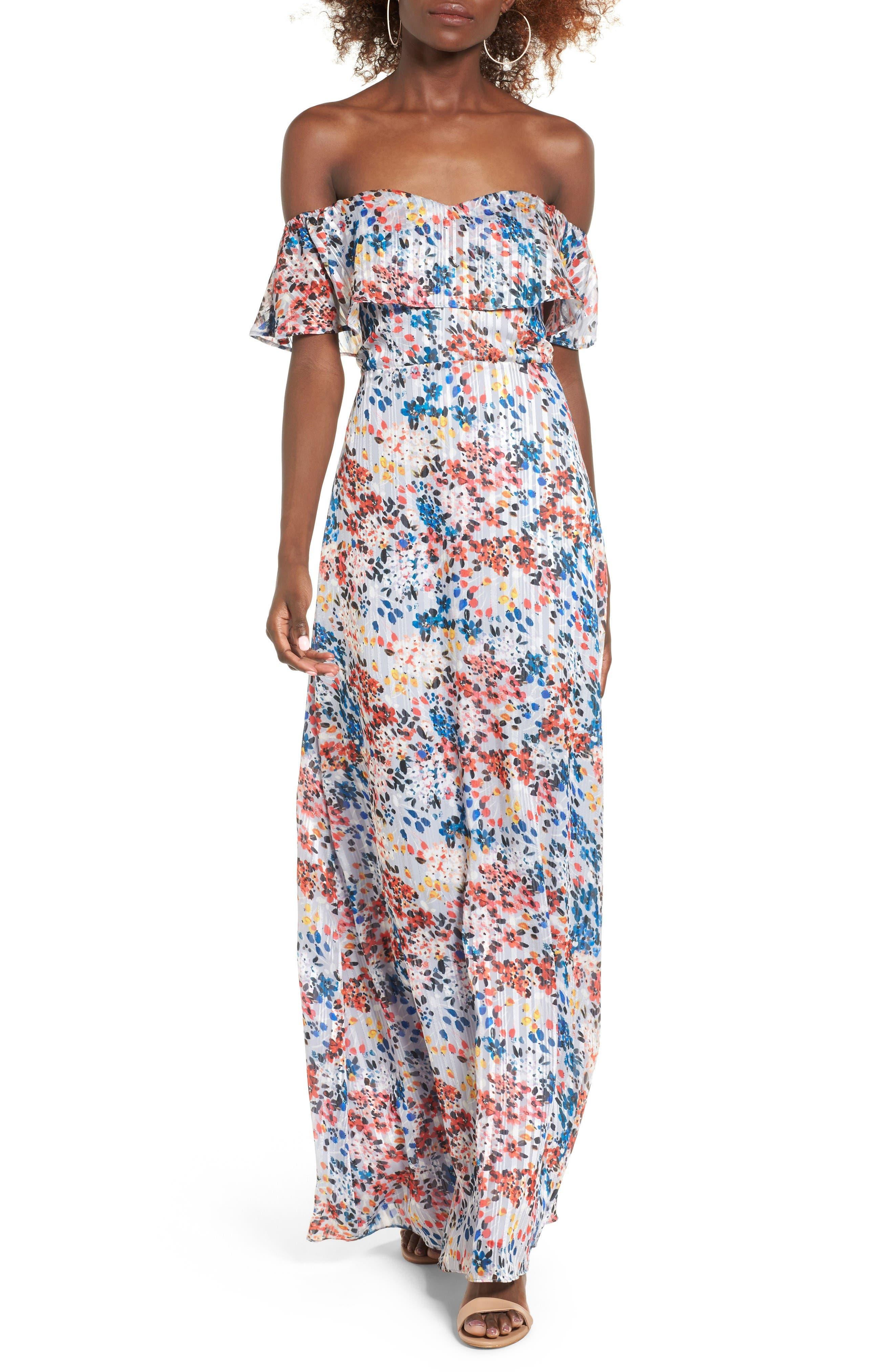 Alternate Image 1 Selected - devlin Beth Off the Shoulder Maxi Dress