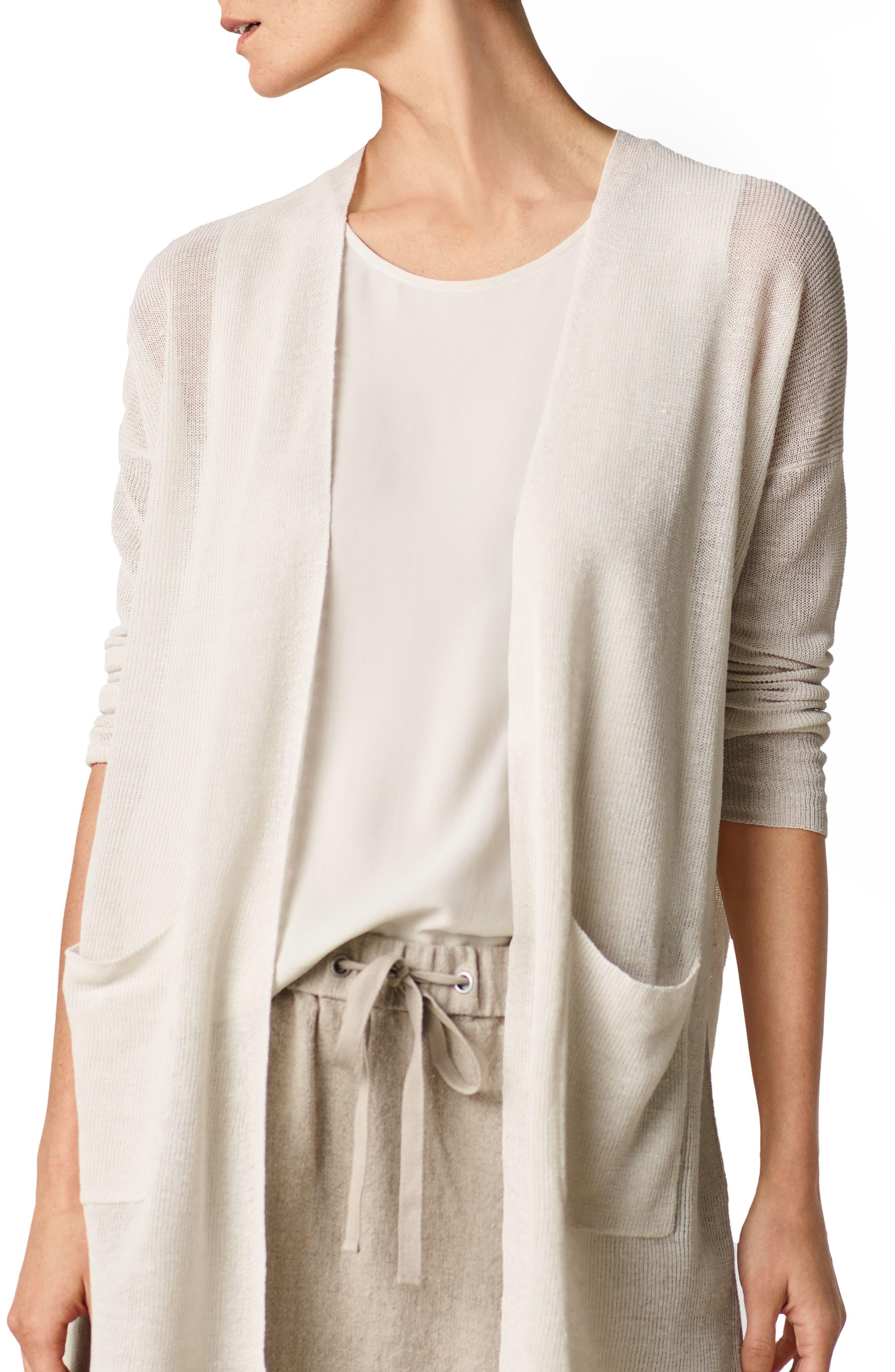 Alternate Image 6  - Eileen Fisher Shaped Organic Linen Blend Cardigan (Regular & Petite)