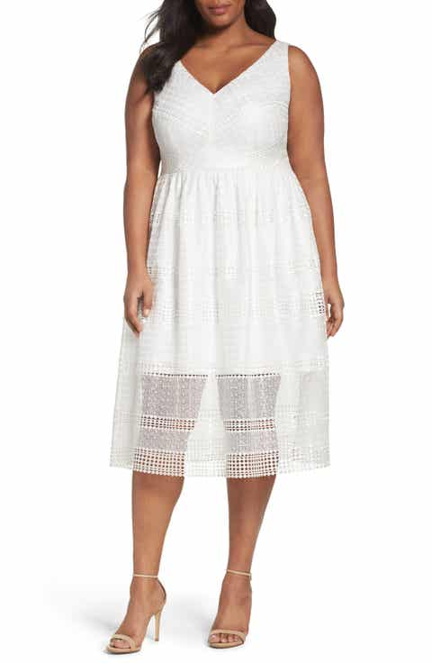 Adrianna Papell Tea-Length Lace Dress (Plus Size)