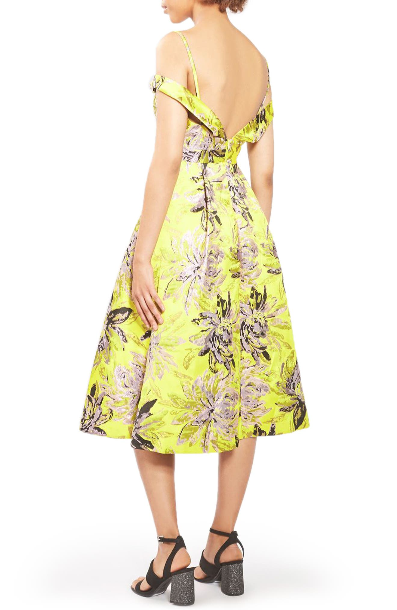 Alternate Image 4  - Topshop Floral Jacquard Midi Dress