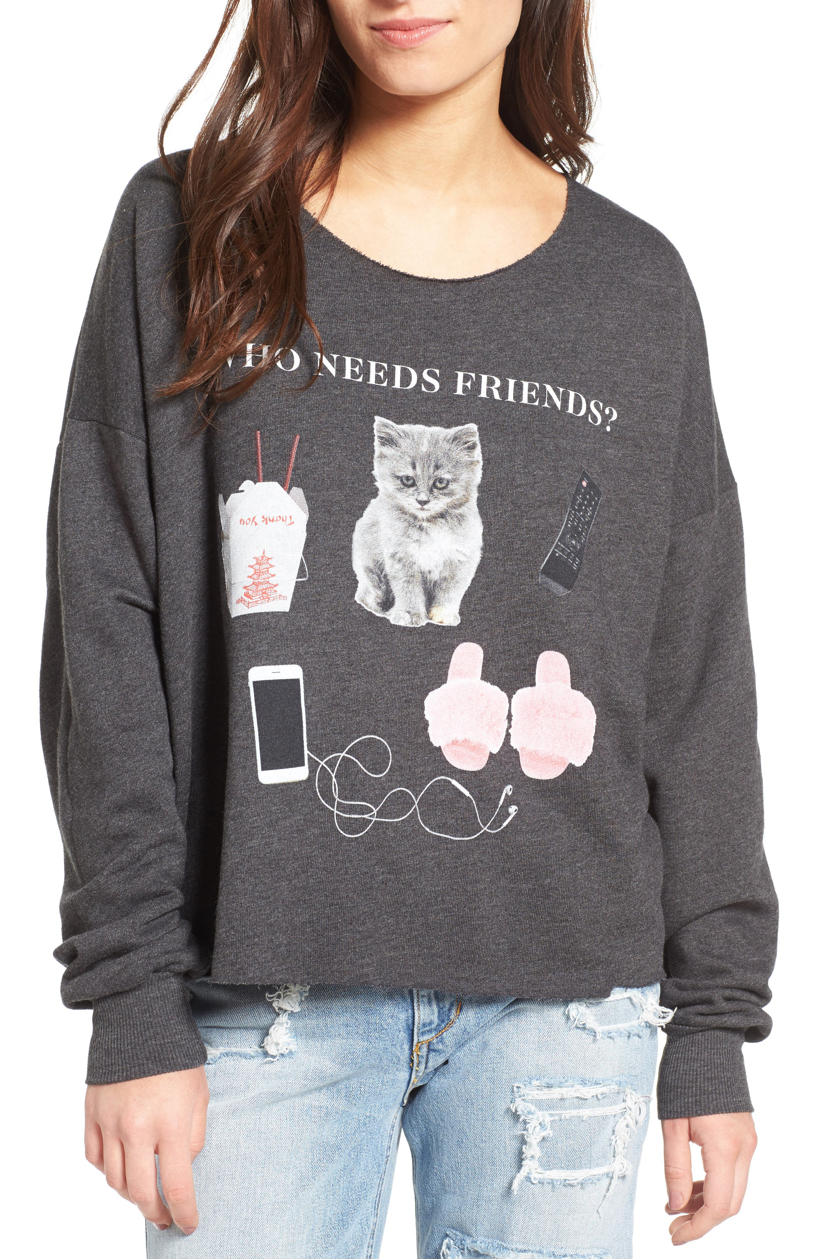 Wildfox Who Needs Friends Pullover