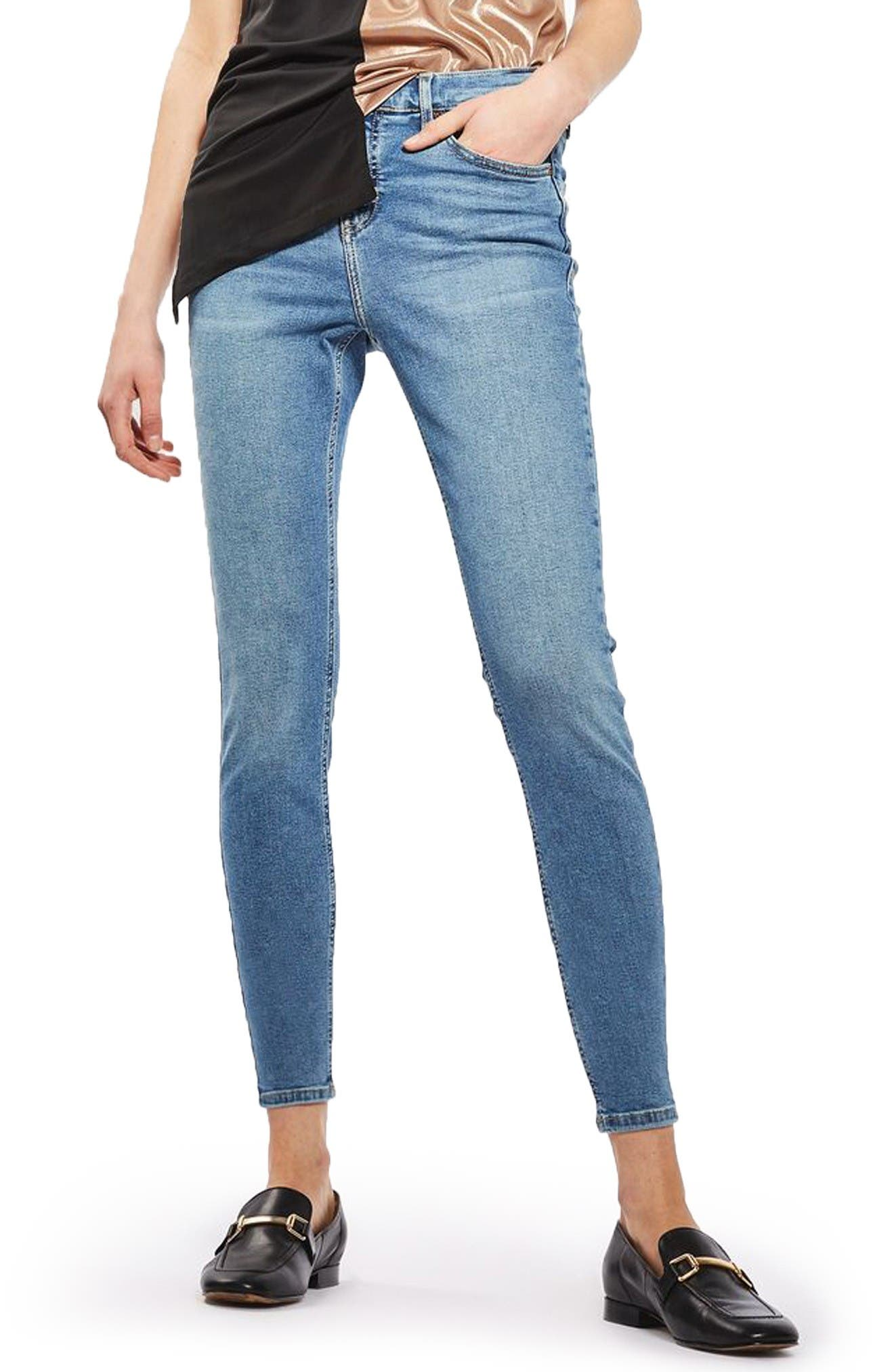 Main Image - Topshop Jamie High Waist Skinny Jeans (Petite)
