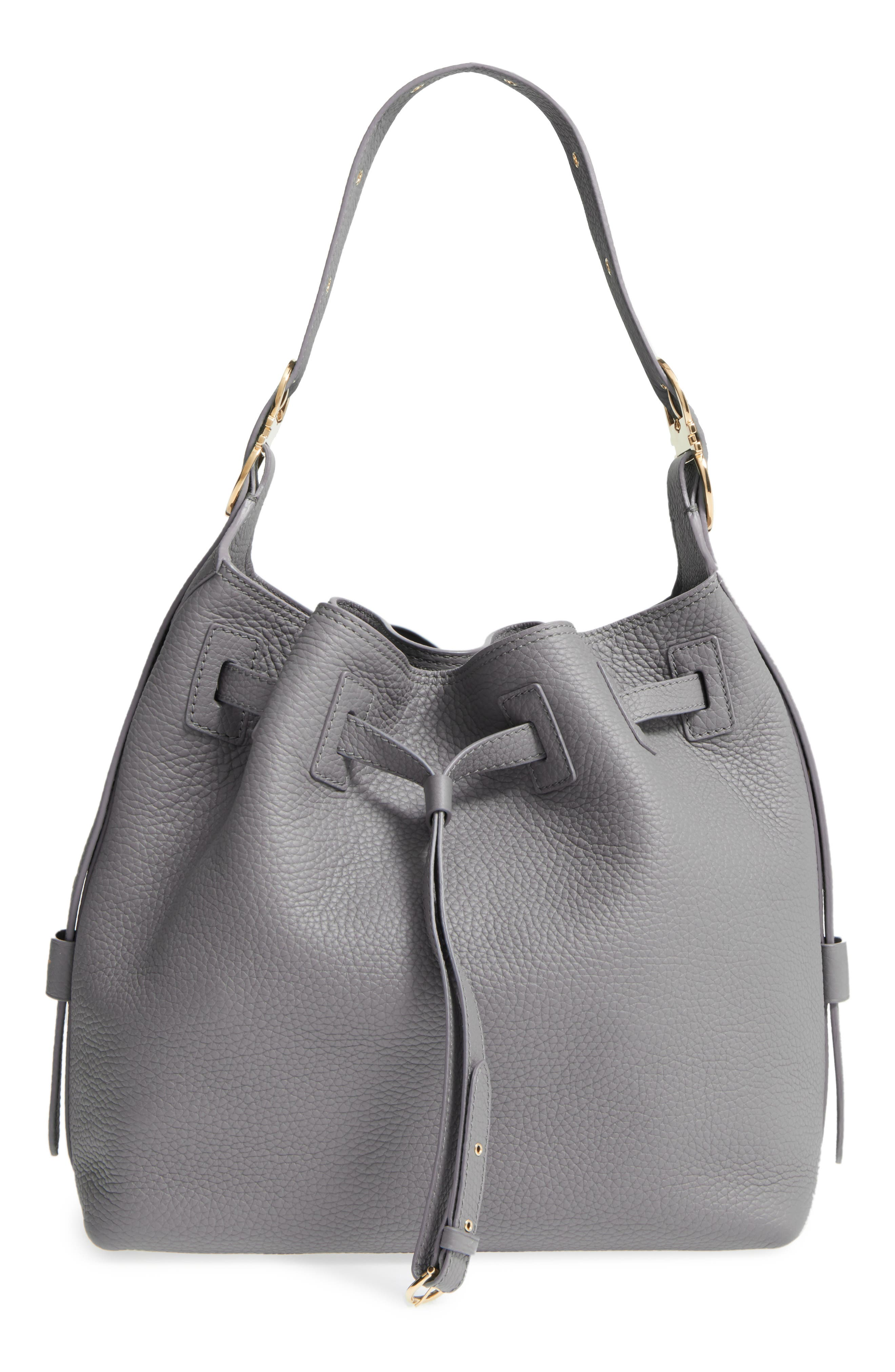 Salvatore Ferragamo Pebbled Leather Drawstring Bucket Bag