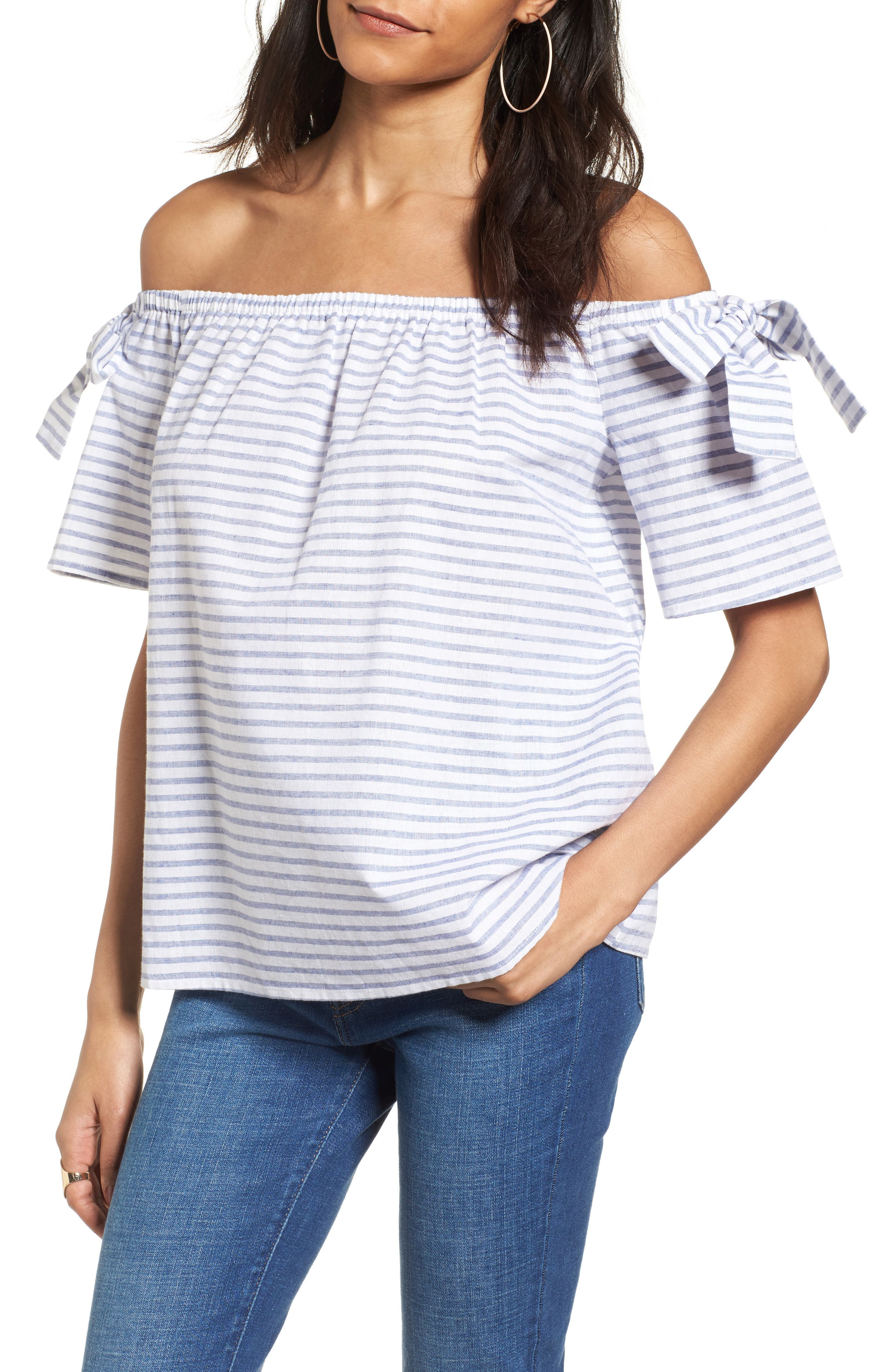 Alternate Image 1 Selected - Soprano Stripe Cotton & Linen Off the Shoulder Top
