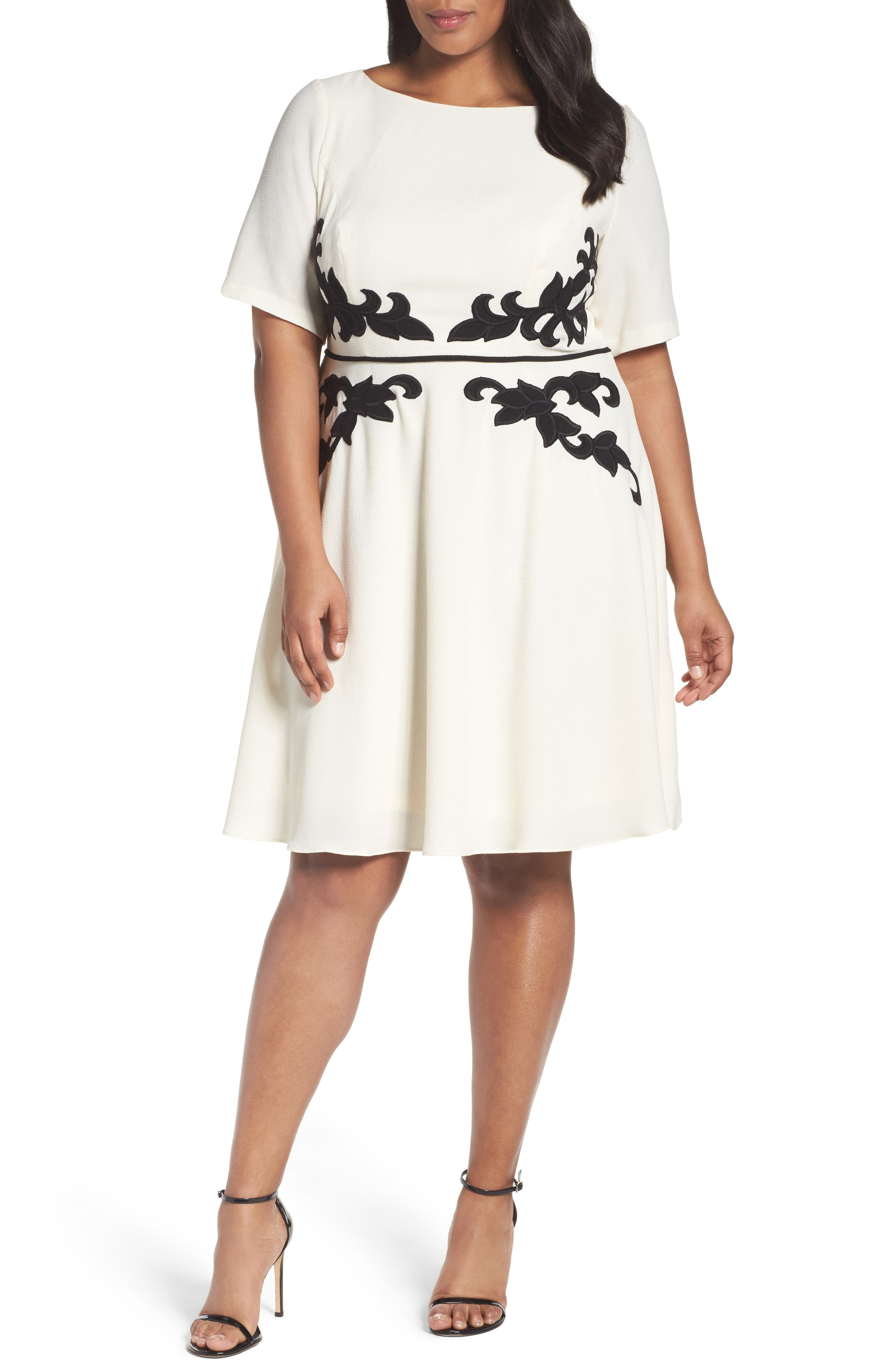 Adrianna Papell Appliqué Fit & Flare Dress (Plus Size)