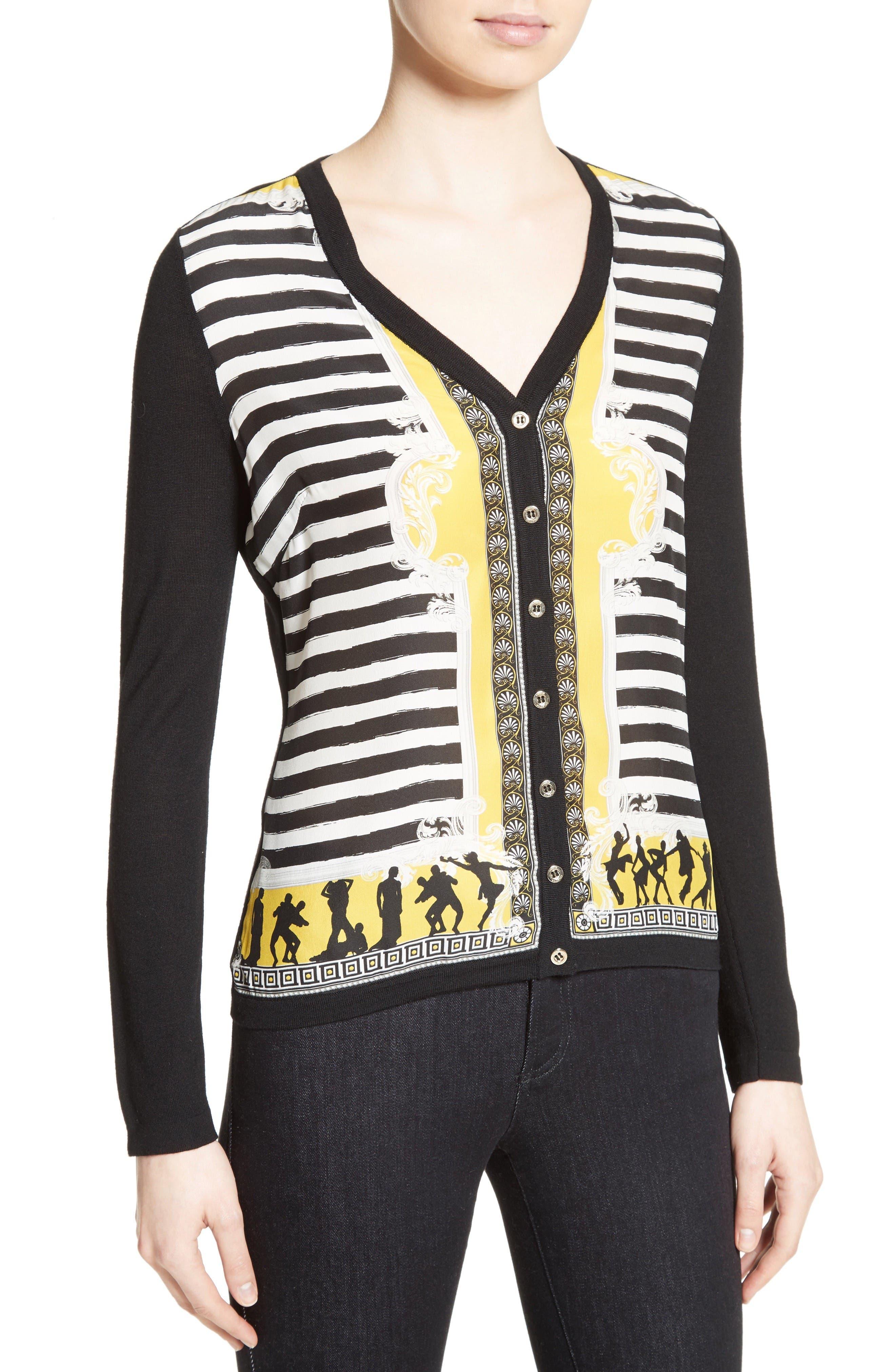 Alternate Image 6  - Versace Collection Catwalk Print Silk & Wool Cardigan