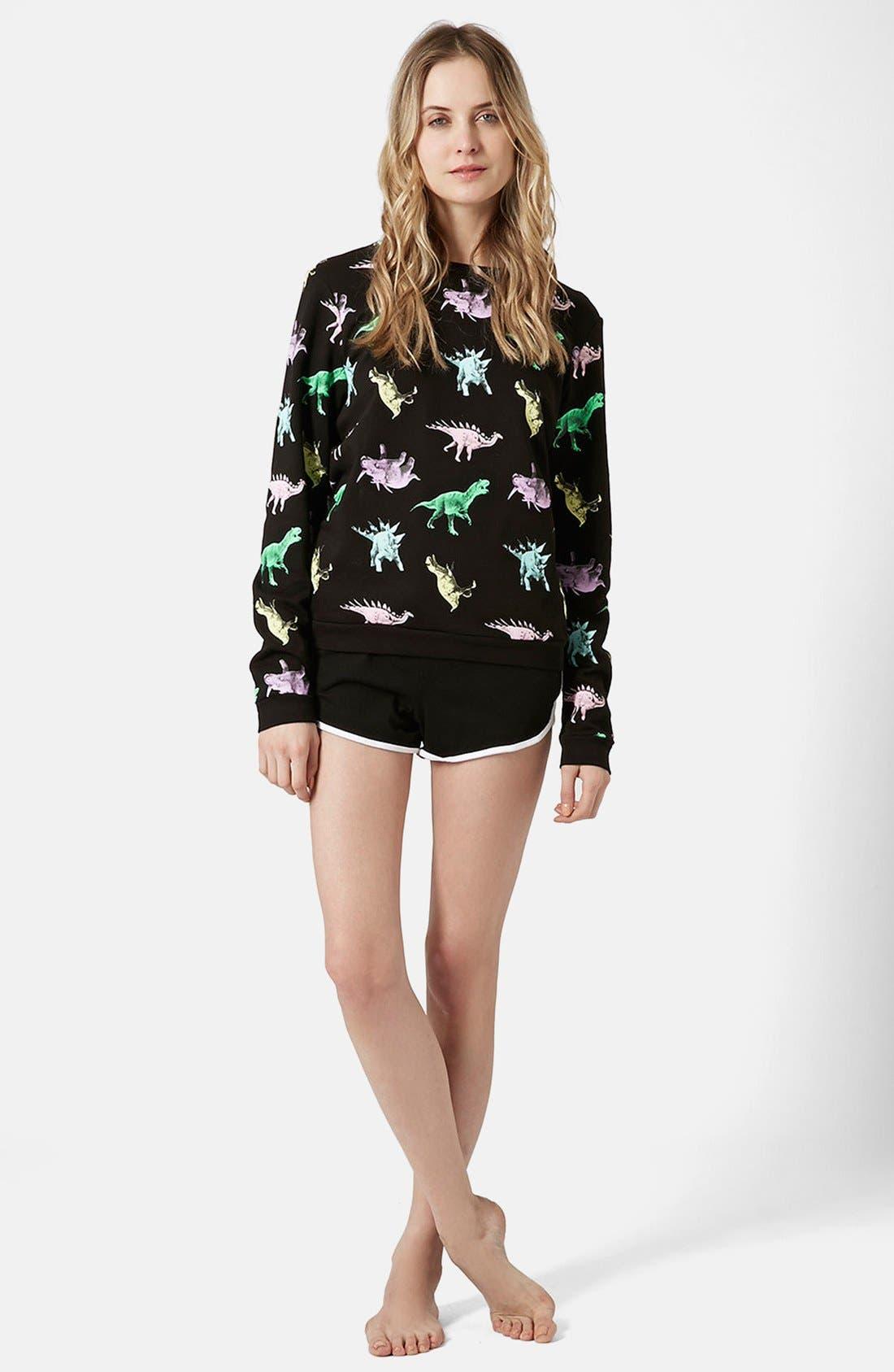 Alternate Image 5  - Topshop Fleece Lined Dinosaur Sweatshirt