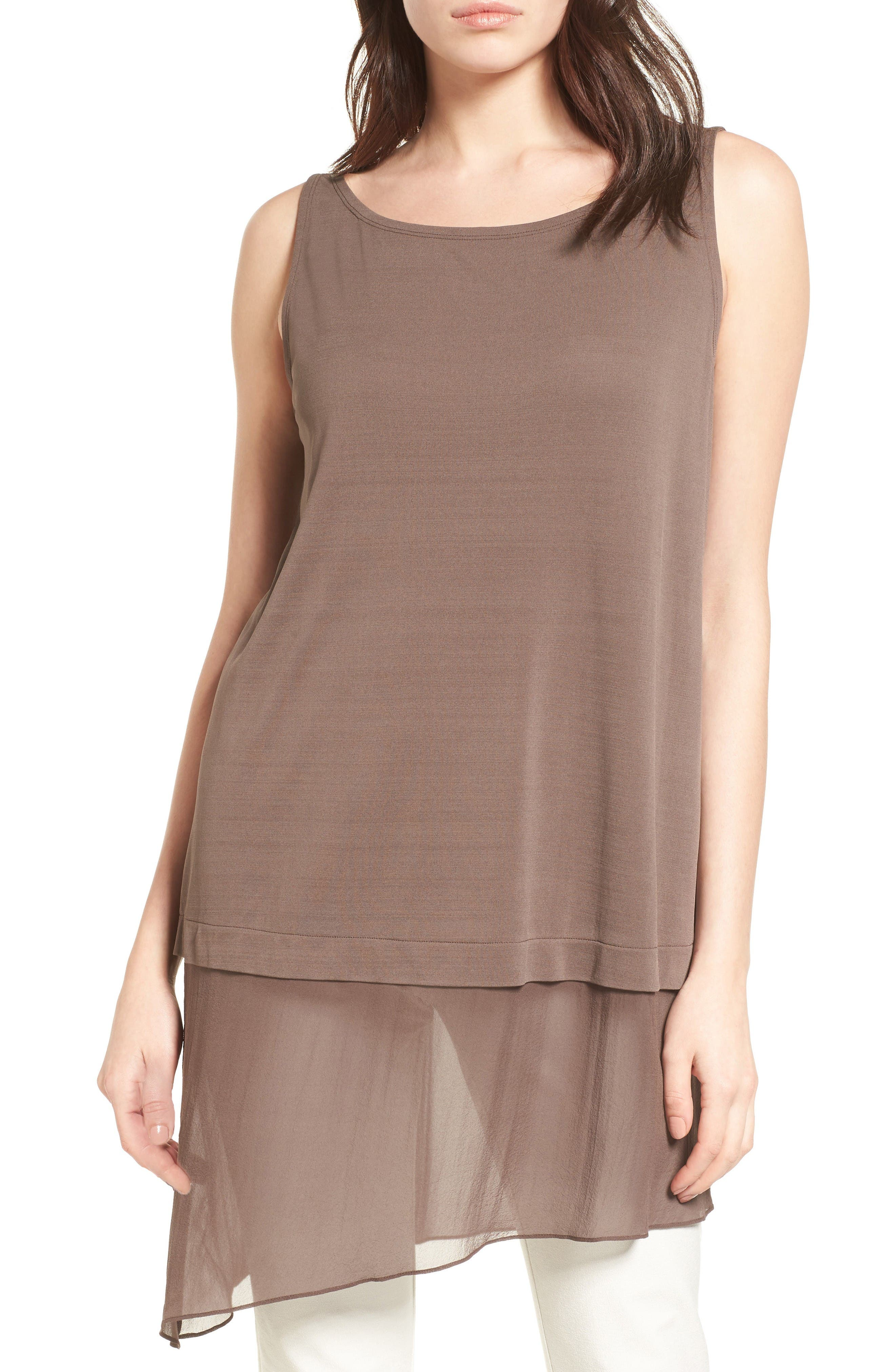 Eileen Fisher Silk Jersey & Chiffon Tunic (Regular & Petite)