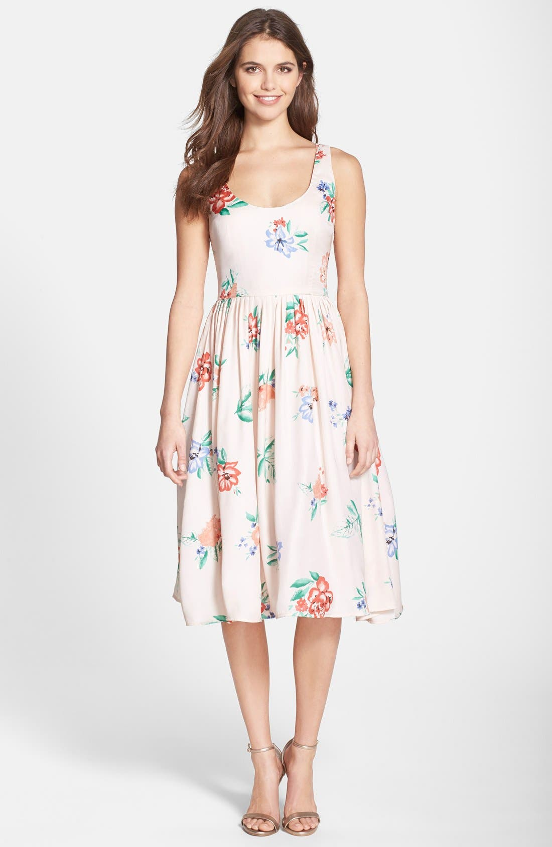 Alternate Image 3  - BB Dakota 'Heleen' Floral Print Fit & Flare Midi Dress