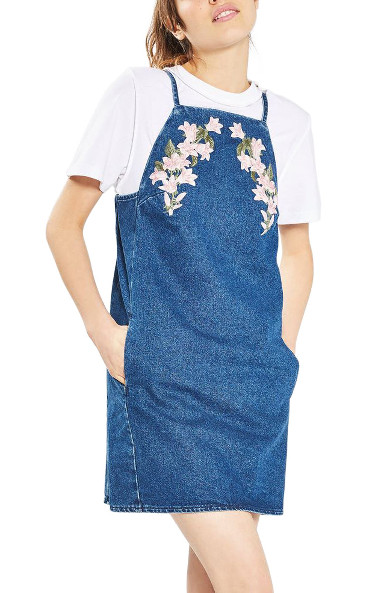 Alternate Image 1 Selected - Topshop Tulip Embroidered Pinafore Dress