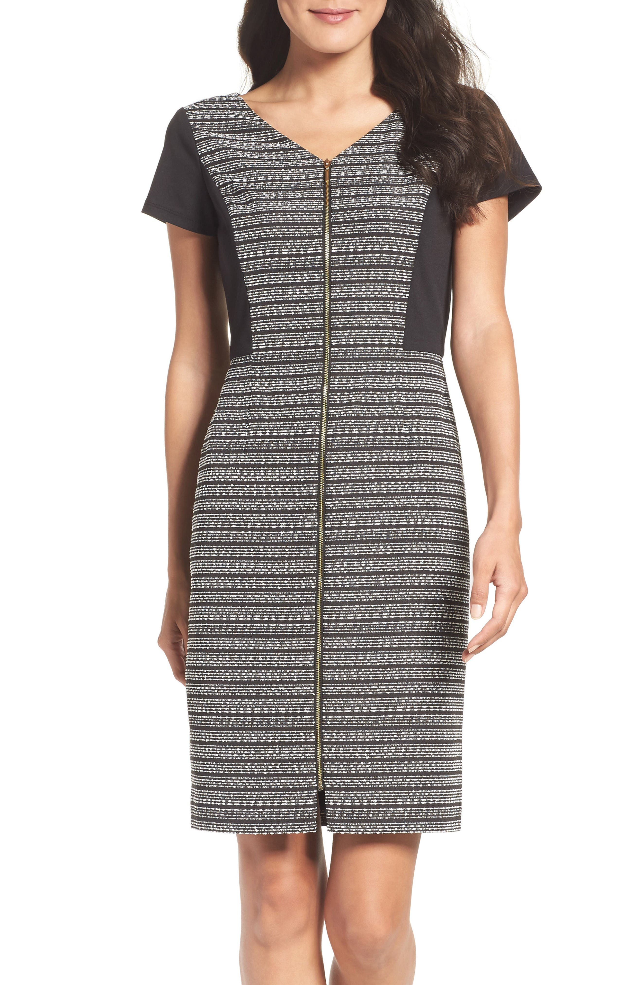 Ellen Tracy Tweed & Ponte Sheath Dress