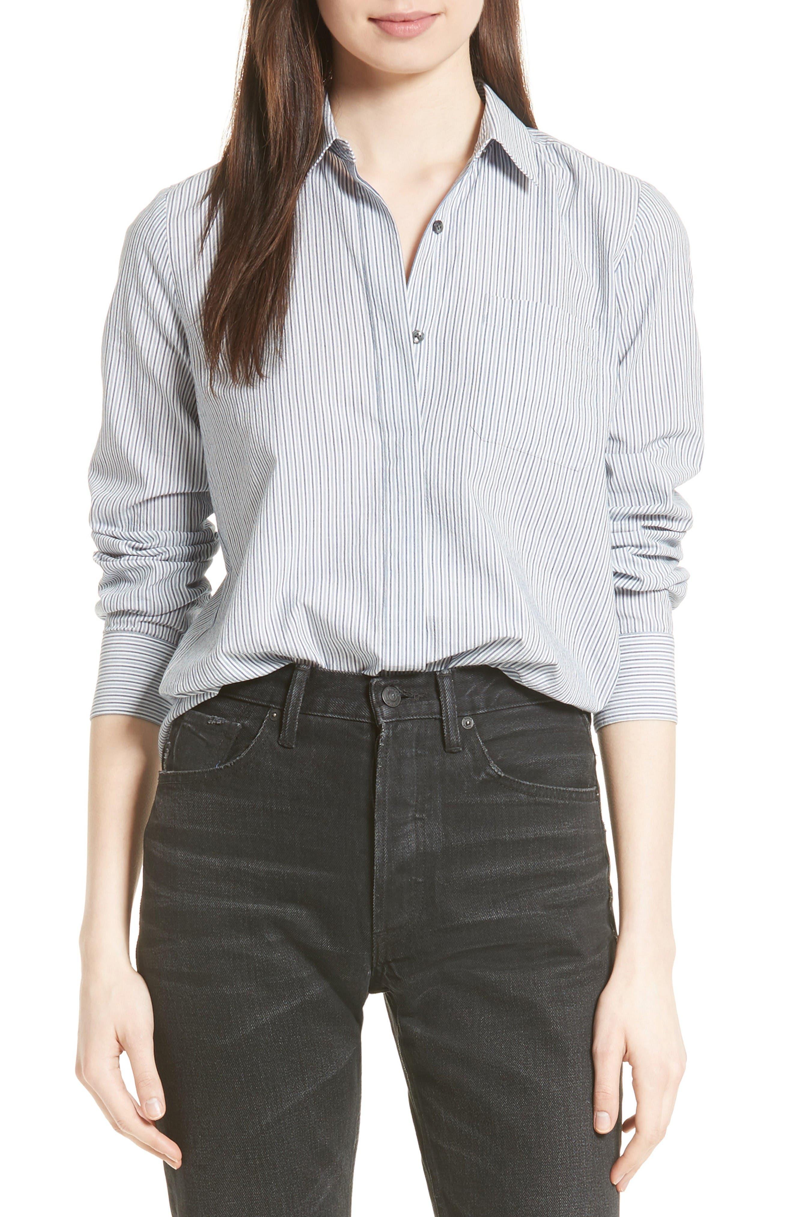 Main Image - Vince Mix Stripe Silk Shirt