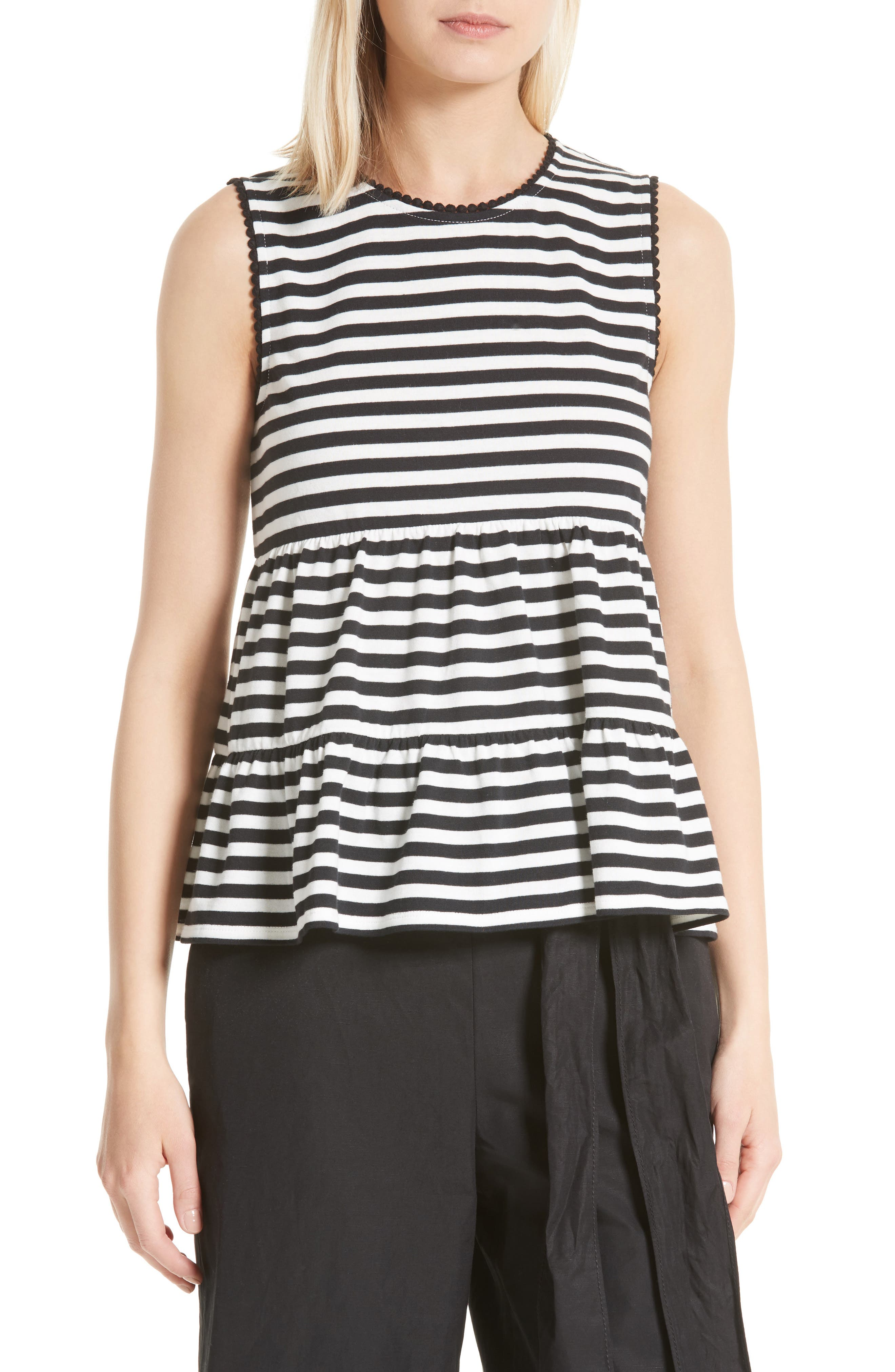 kate spade new york stripe cotton knit top