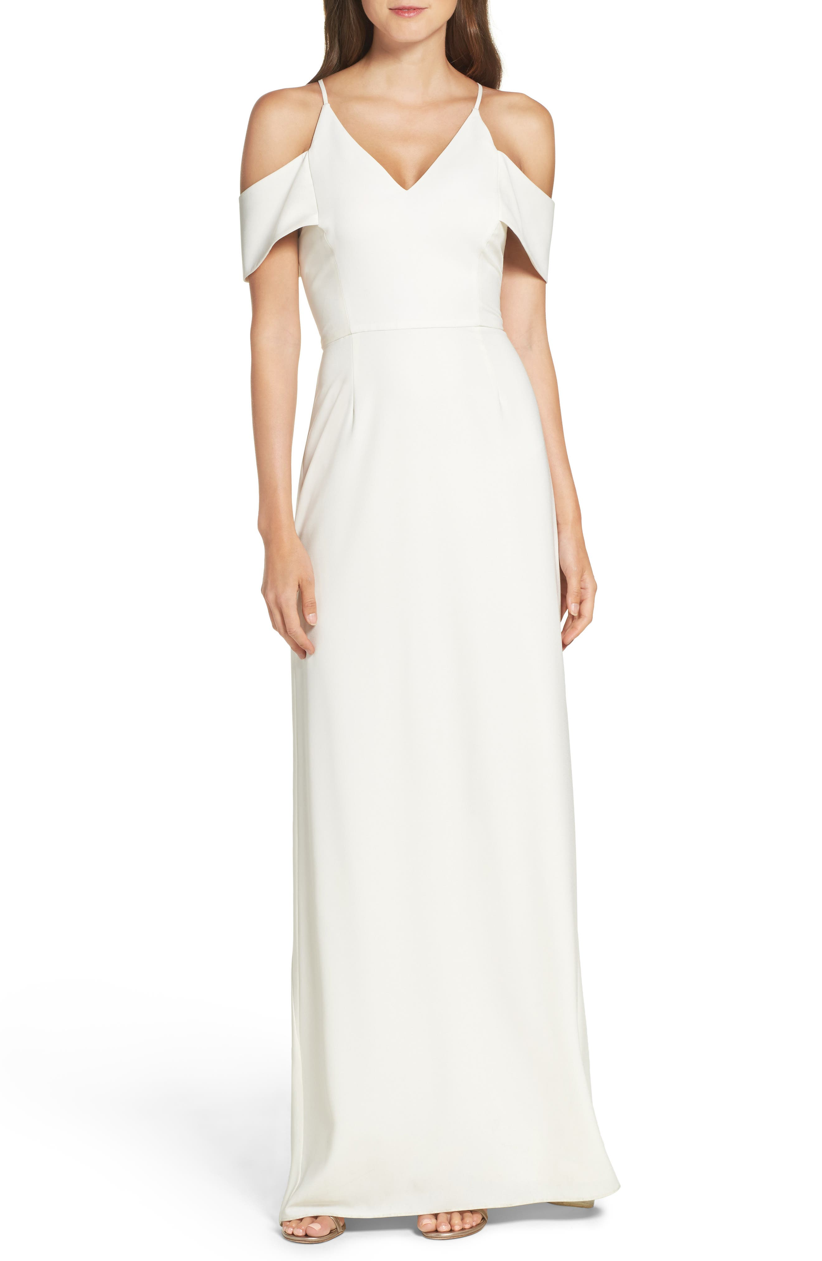 Halston Heritage Crepe Gown with Train