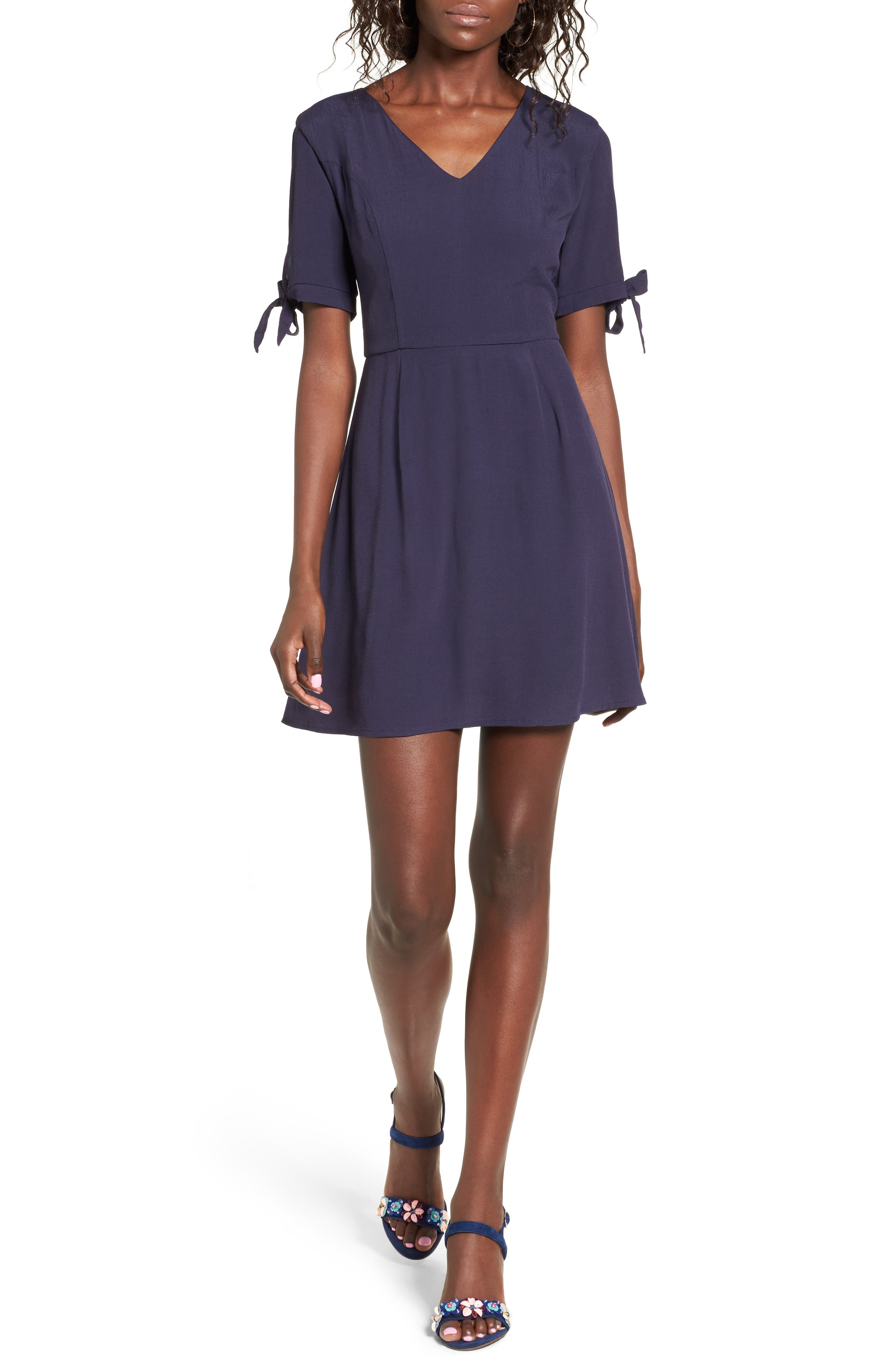 Dee Elly Tie Sleeve Skater Dress