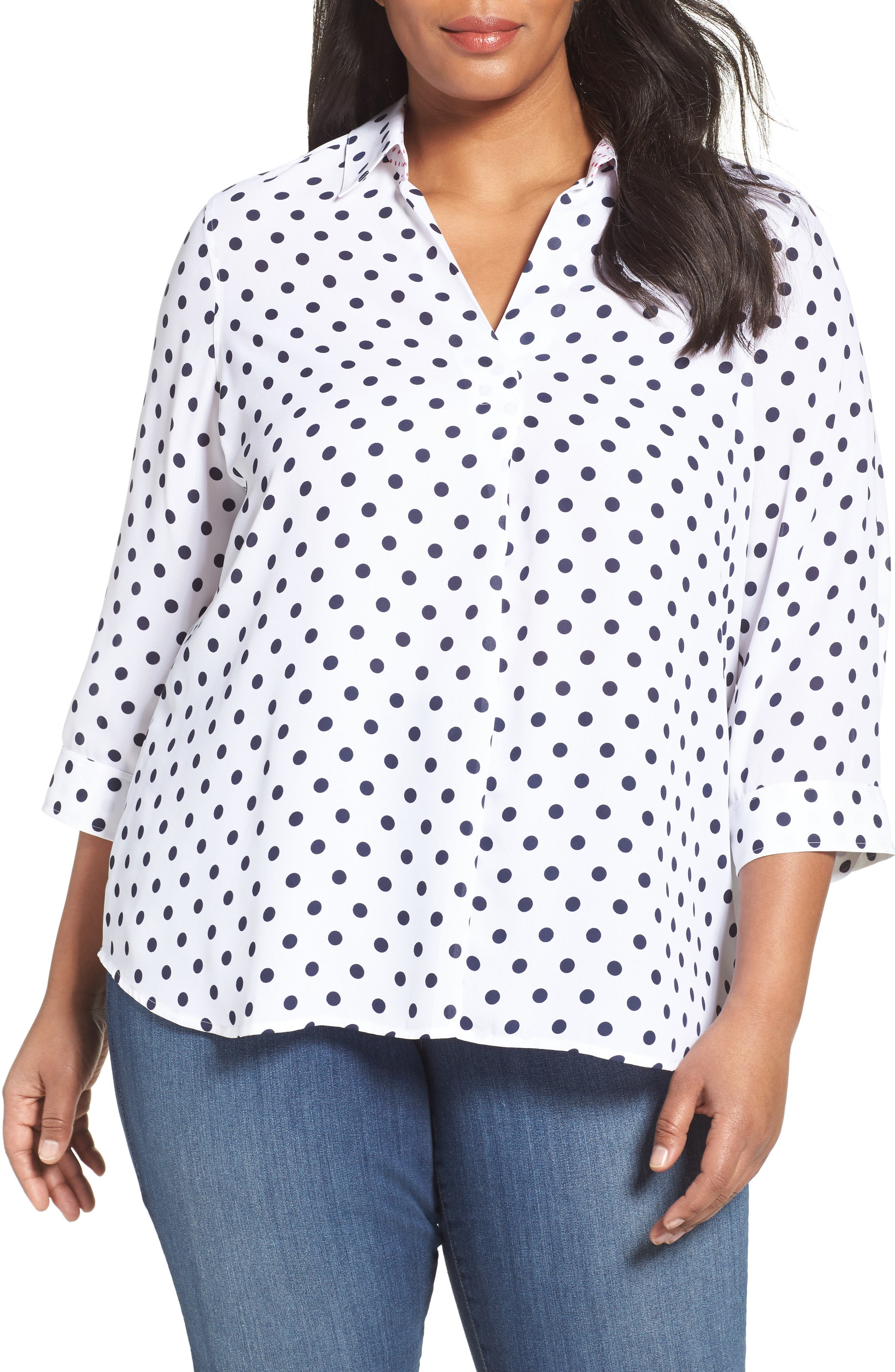 Foxcroft Fleur Dot Print Blouse (Plus Size)