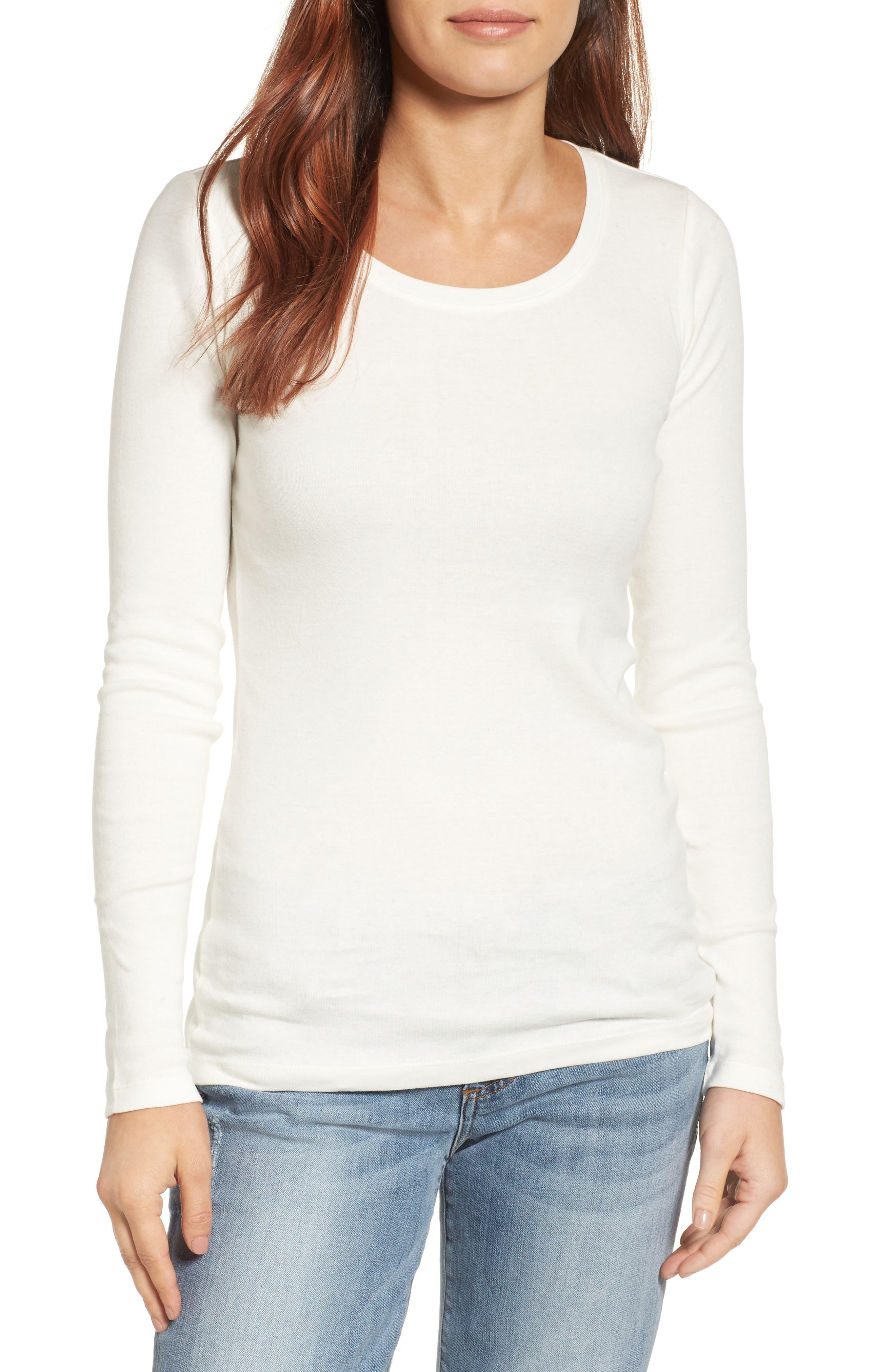 Caslon® Long Sleeve Scoop Neck Cotton Tee (Regular & Petite)