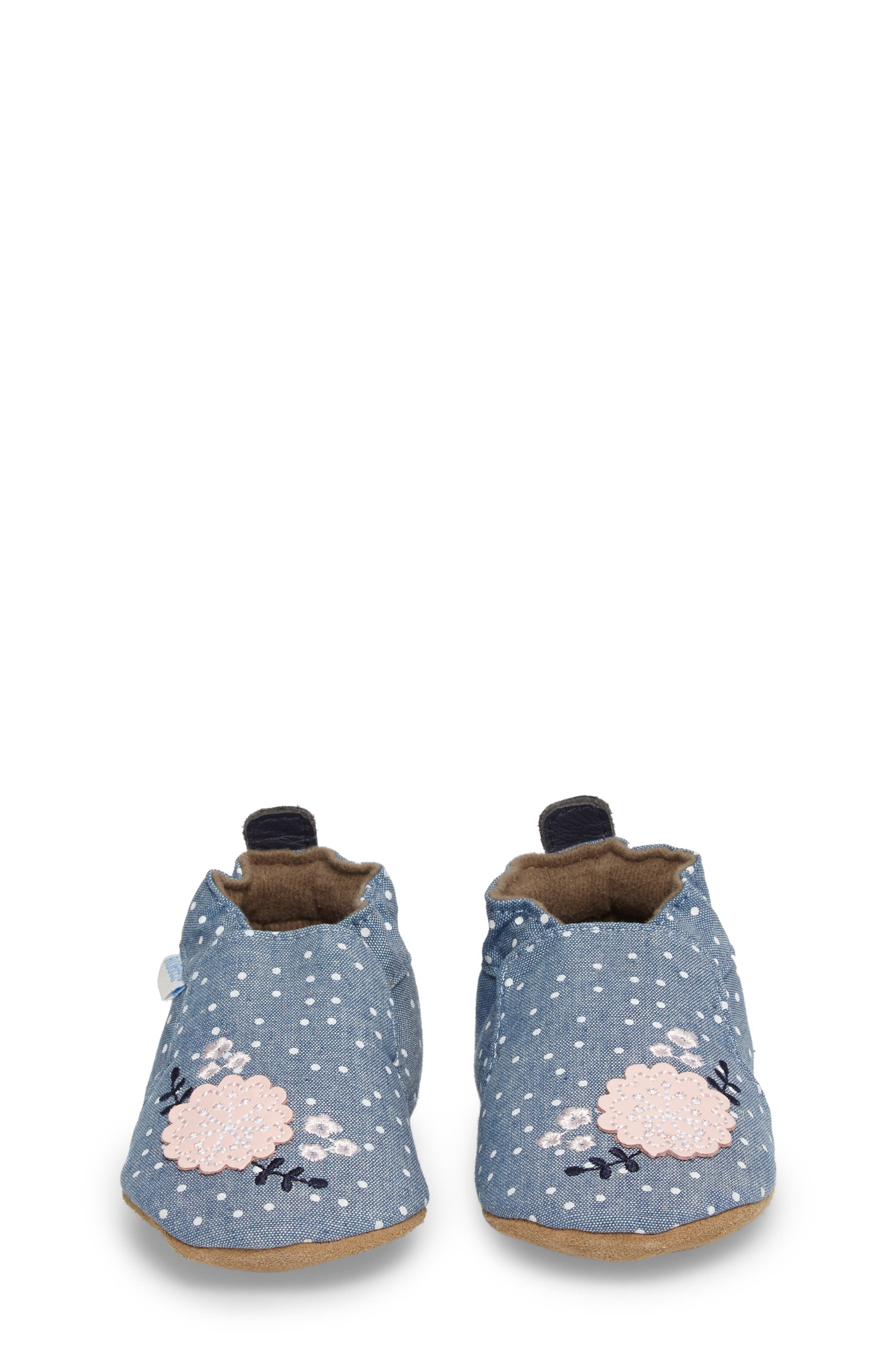Alternate Image 4  - Robeez® Chambray Bouquet Slip-On Crib Shoe (Baby & Walker)