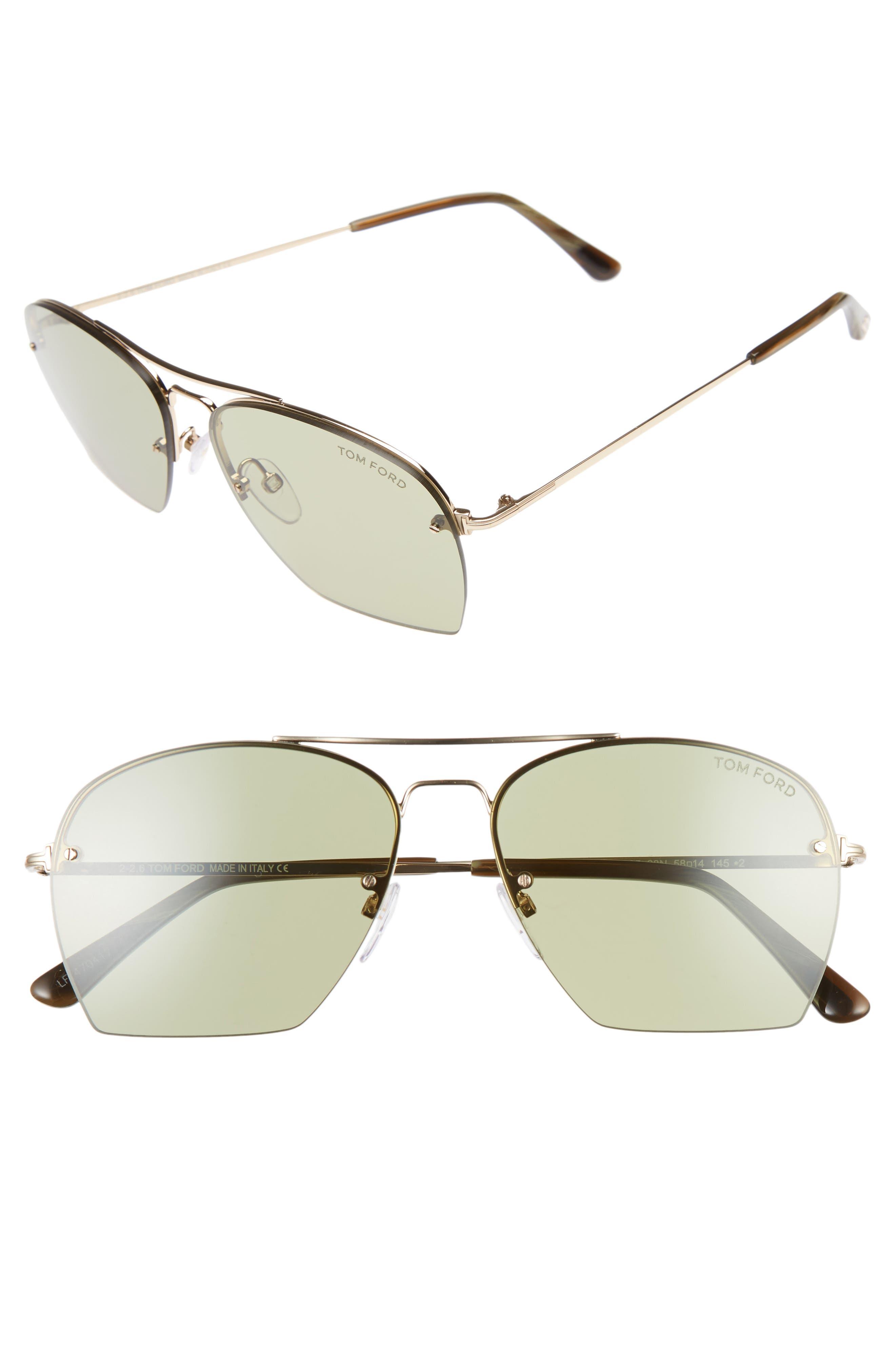 Tom Ford Whelan 58mm Aviator Sunglasses