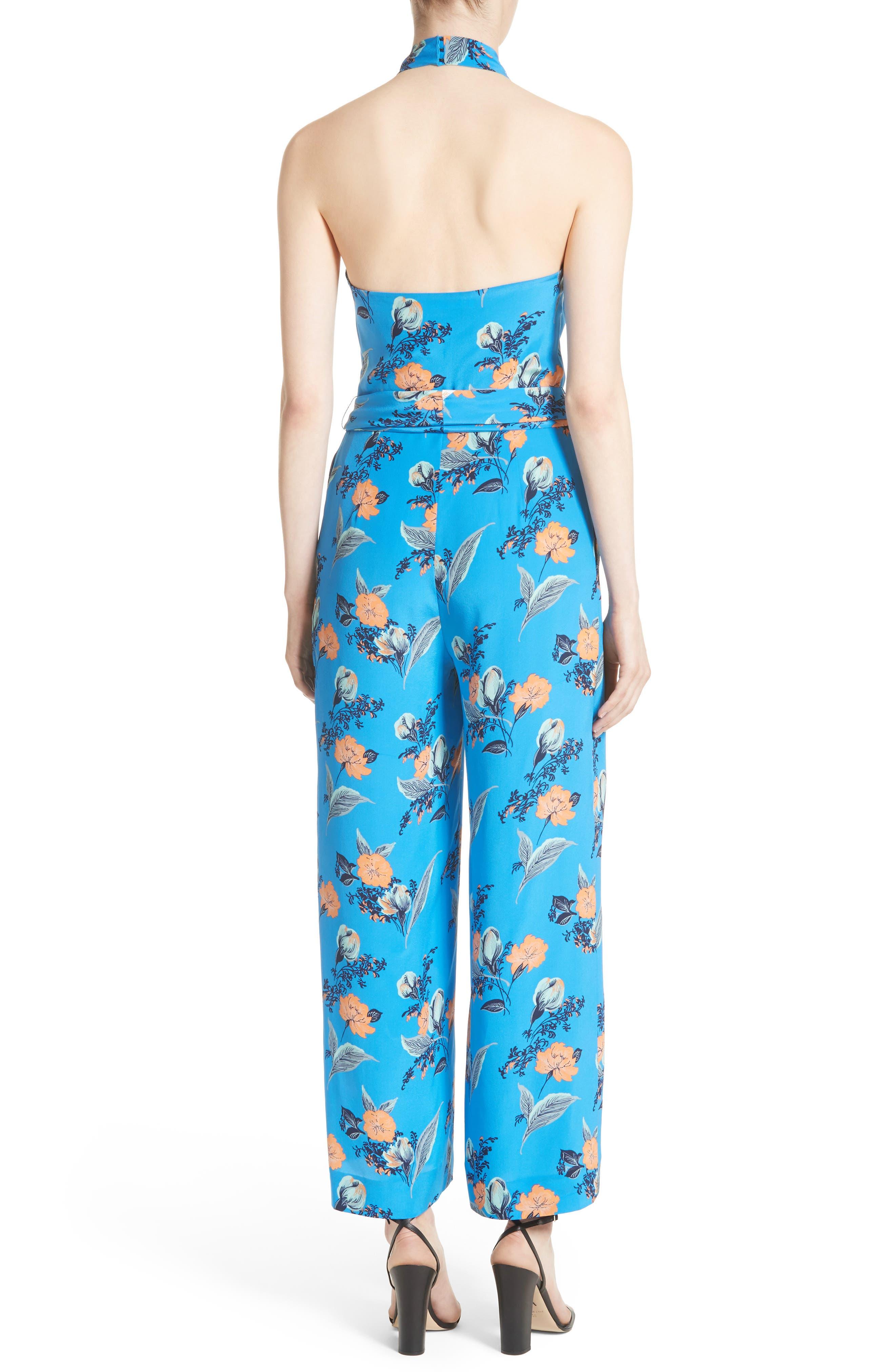 Alternate Image 2  - Diane von Furstenberg Halter Floral Suit Jumpsuit
