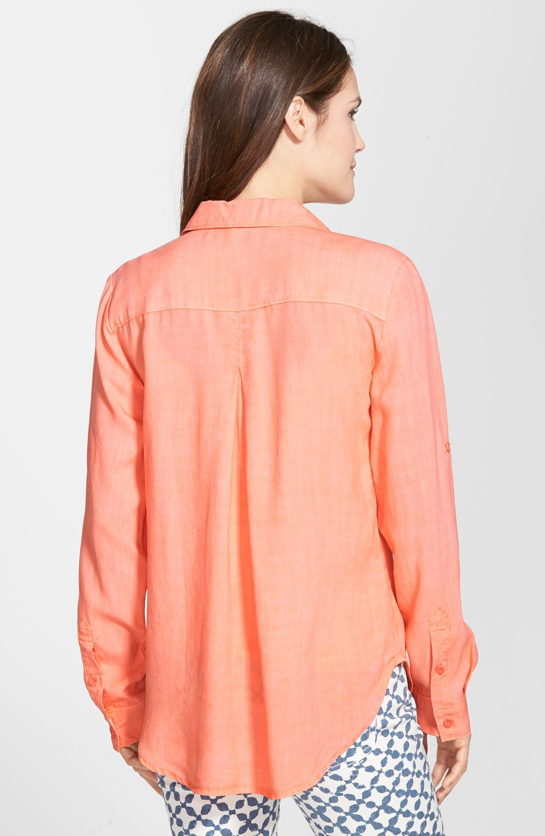 Alternate Image 2  - Side Stitch Roll Tab Sleeve Tencel® Pullover Shirt