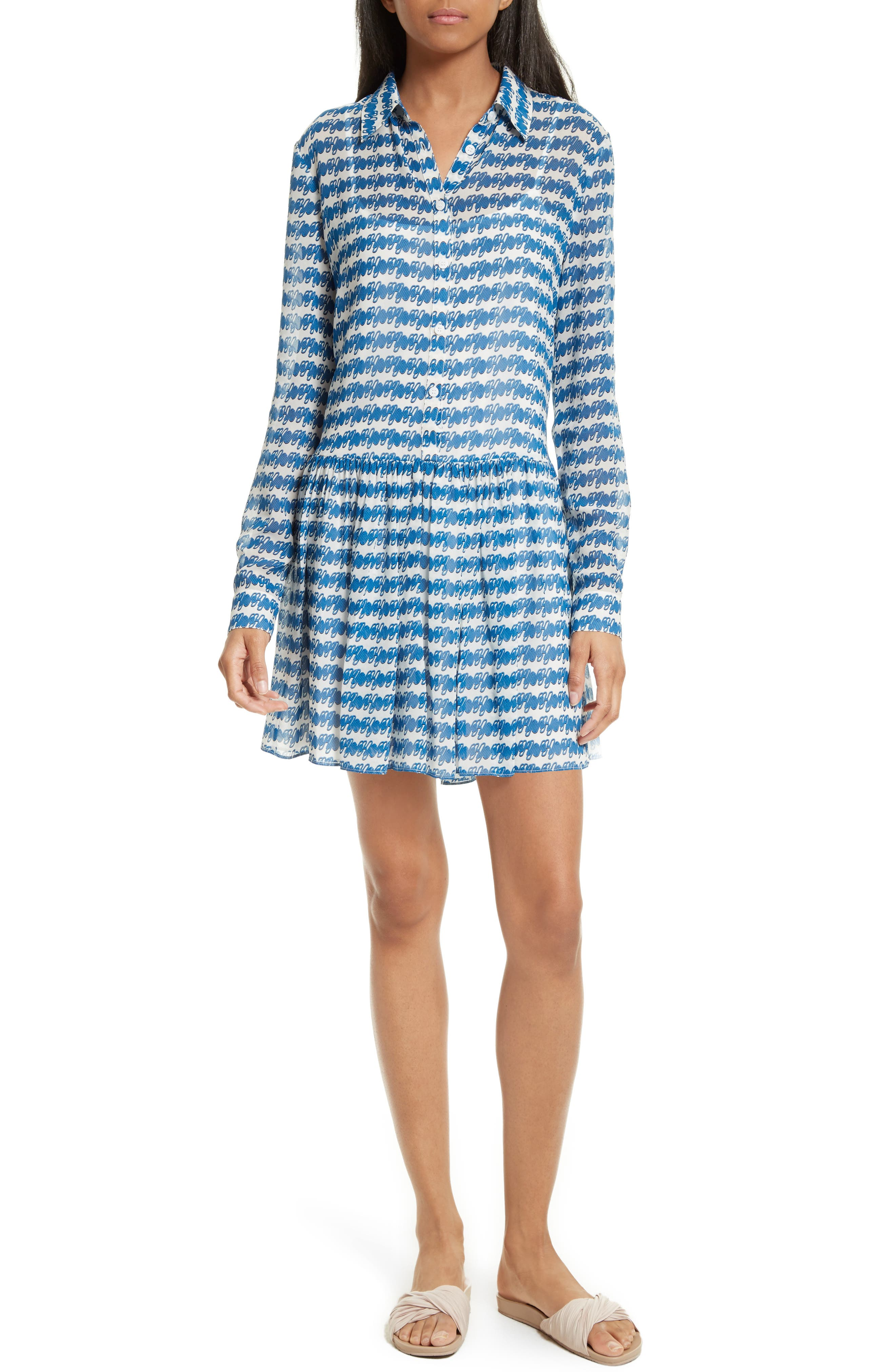 Opening Ceremony Print Drop Waist Shirtdress