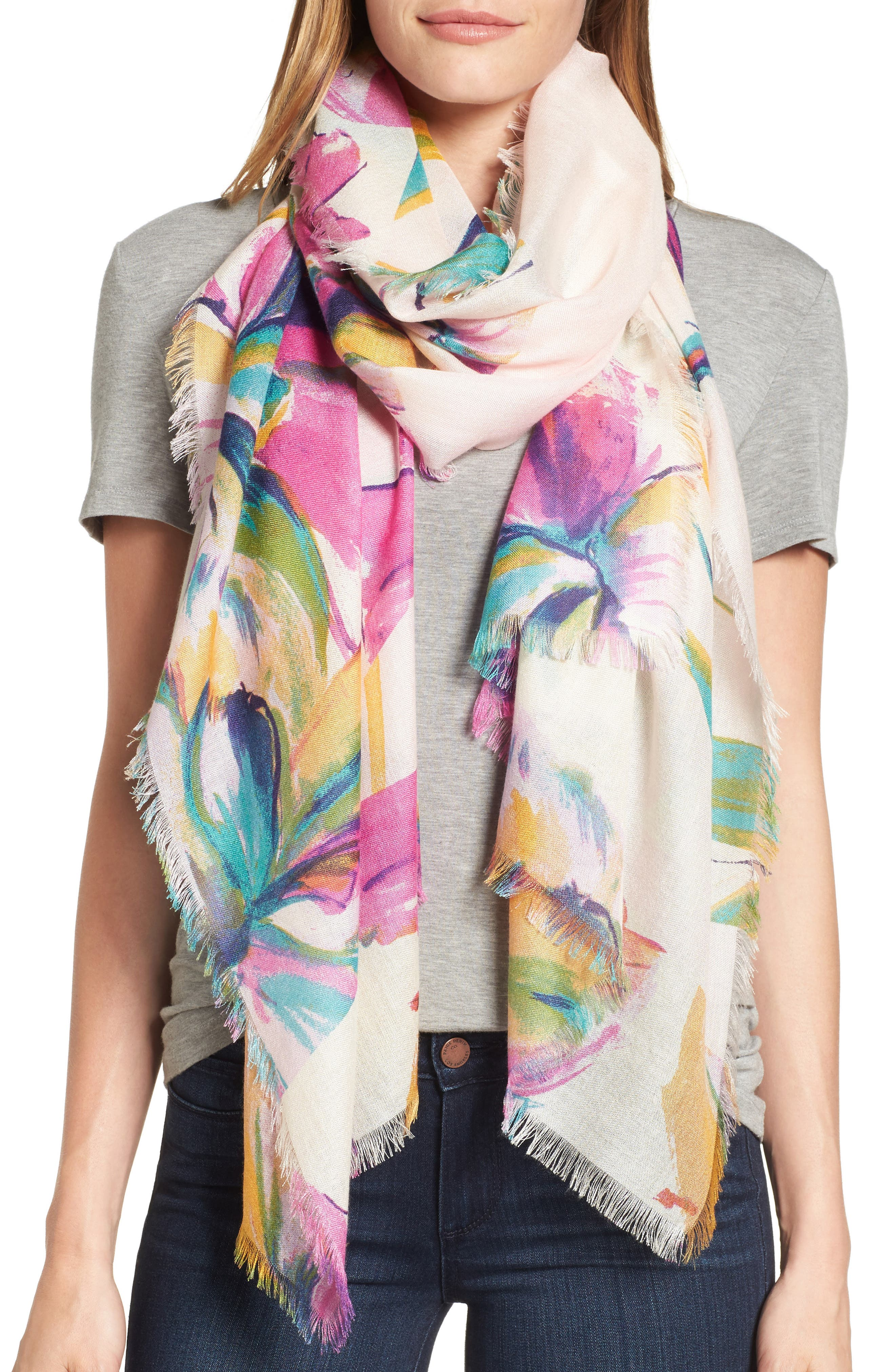 Nordstrom Birds in Flight Cashmere & Silk Scarf