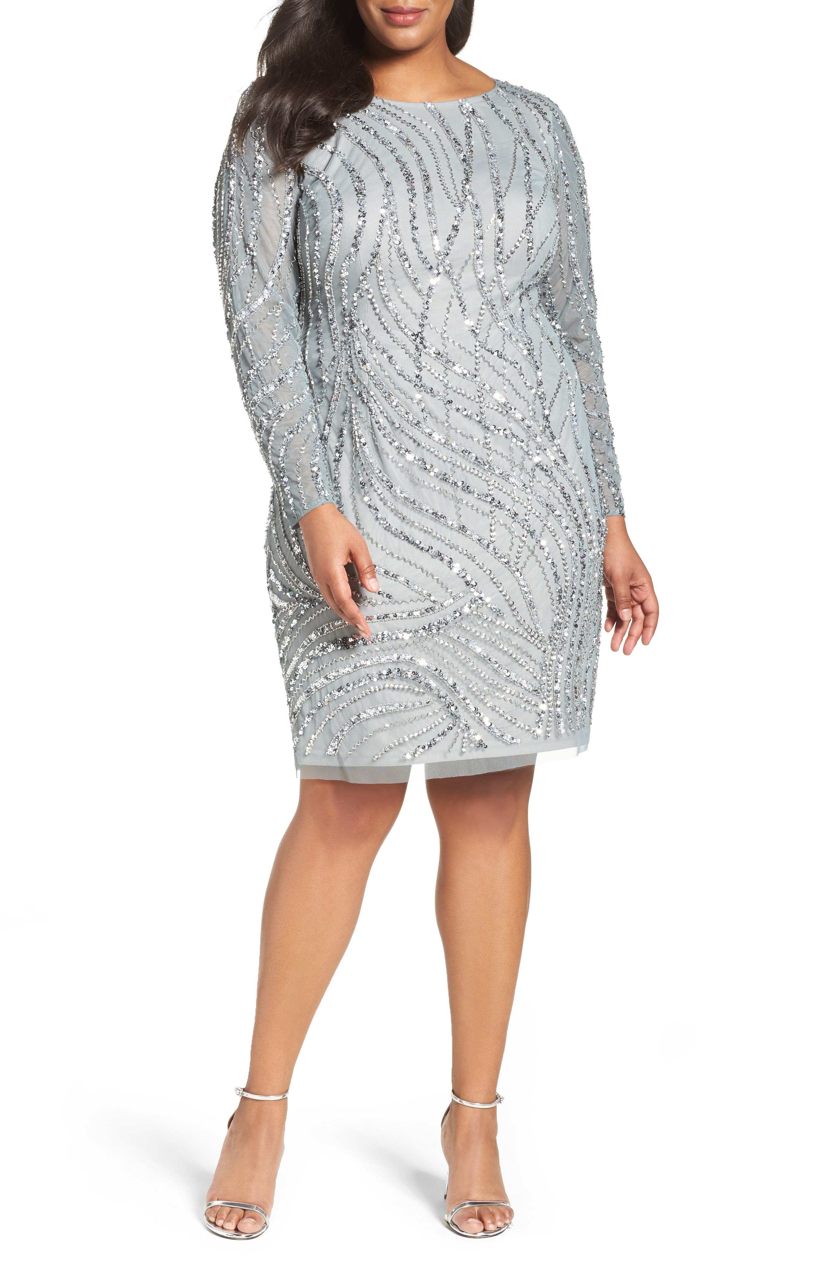 Adrianna Papell Beaded Mesh Sheath Dress (Plus Size)