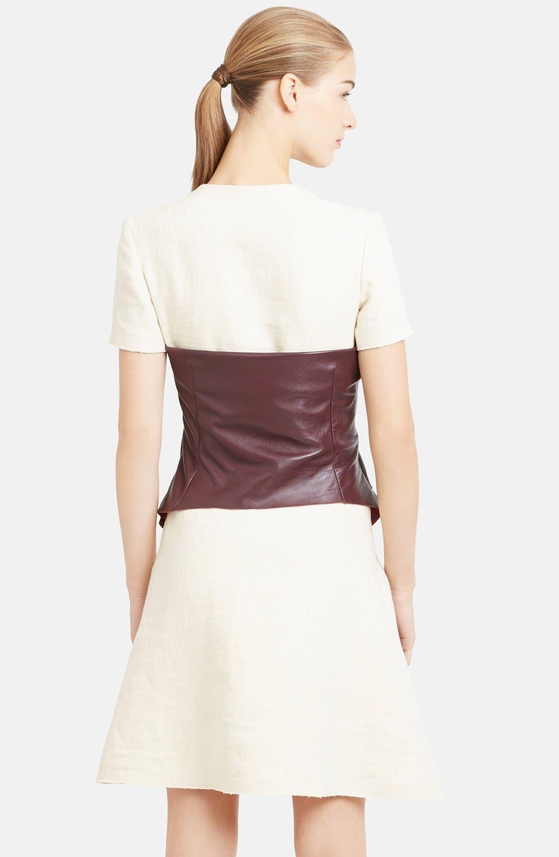 Alternate Image 2  - J.W.ANDERSON Leather Corset Fit & Flare Hemp Shirtdress