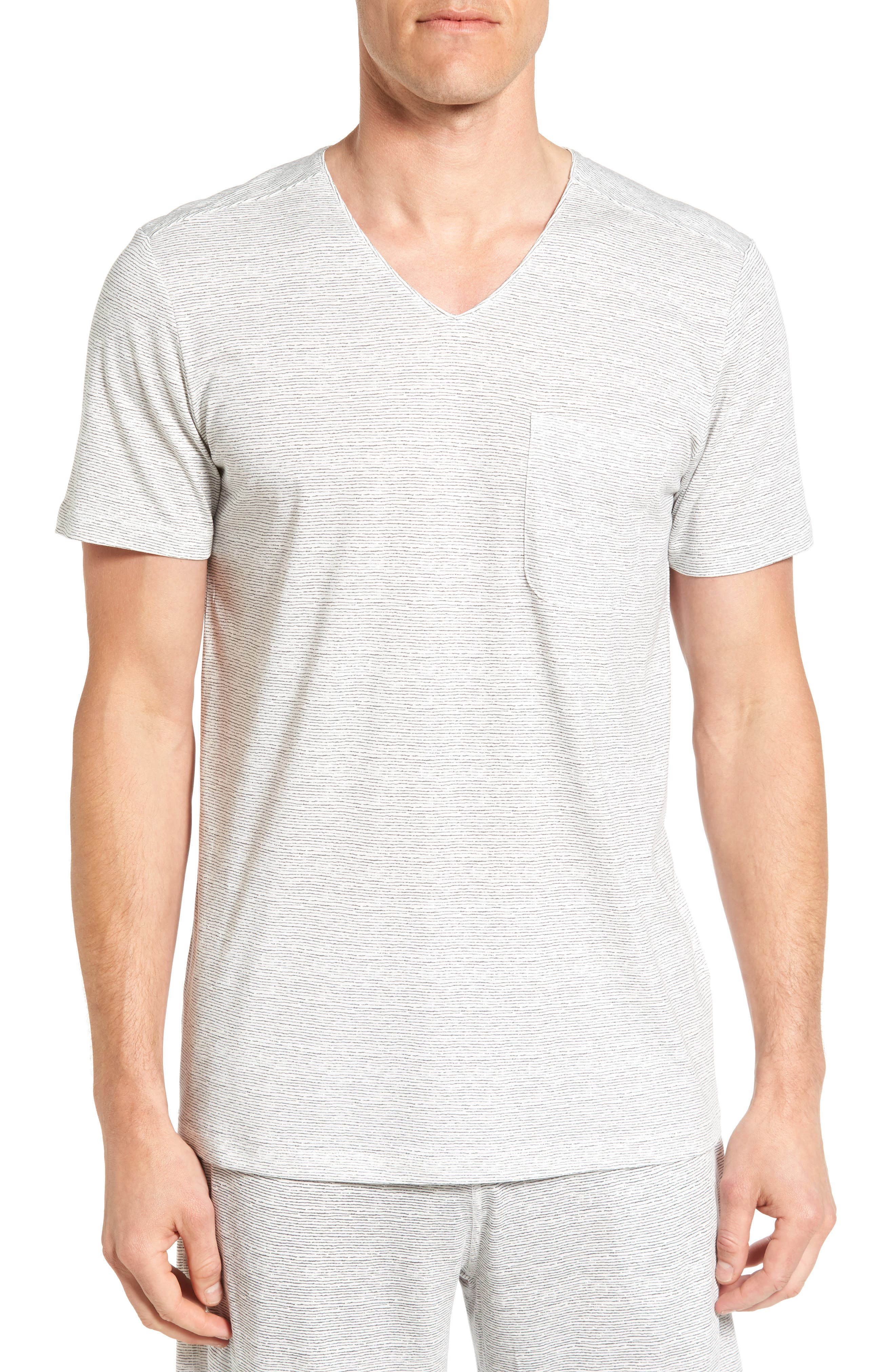 Daniel Buchler Feeder Stripe Pima Cotton & Modal V-Neck T-Shirt