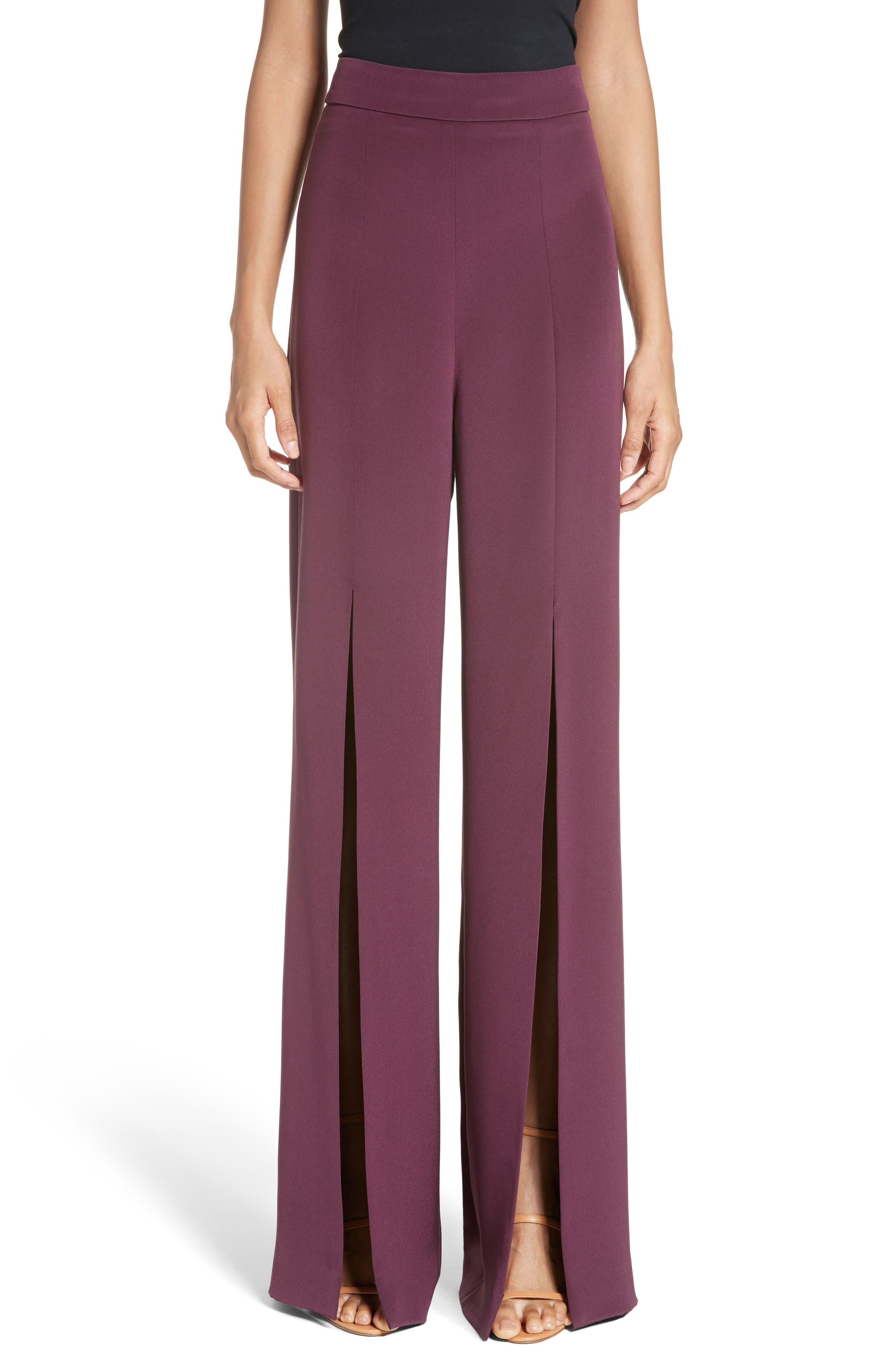 Cushnie et Ochs Slit Silk High Waisted Pants