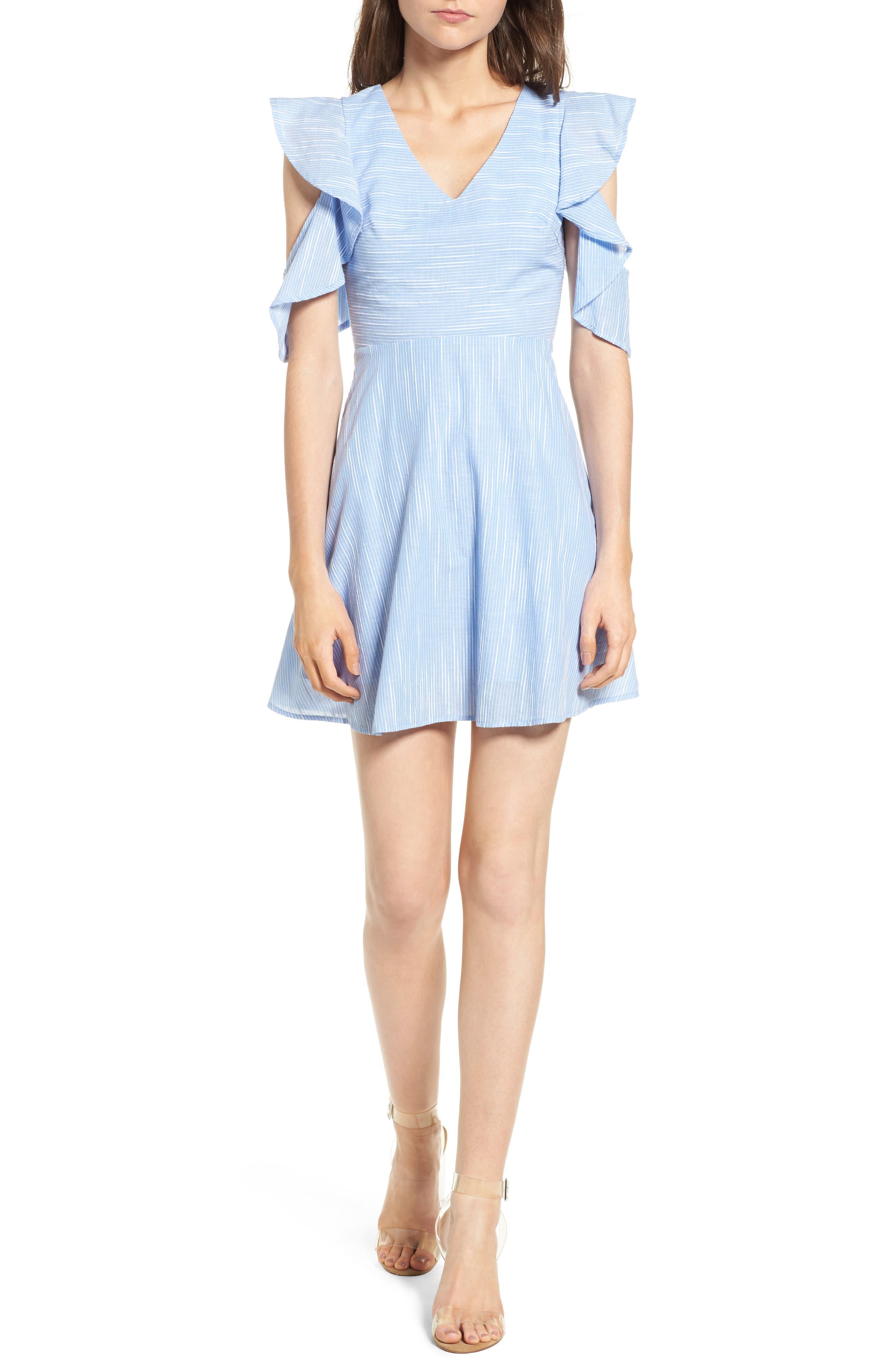 Main Image - J.O.A. Cotton Cold Shoulder Skater Dress