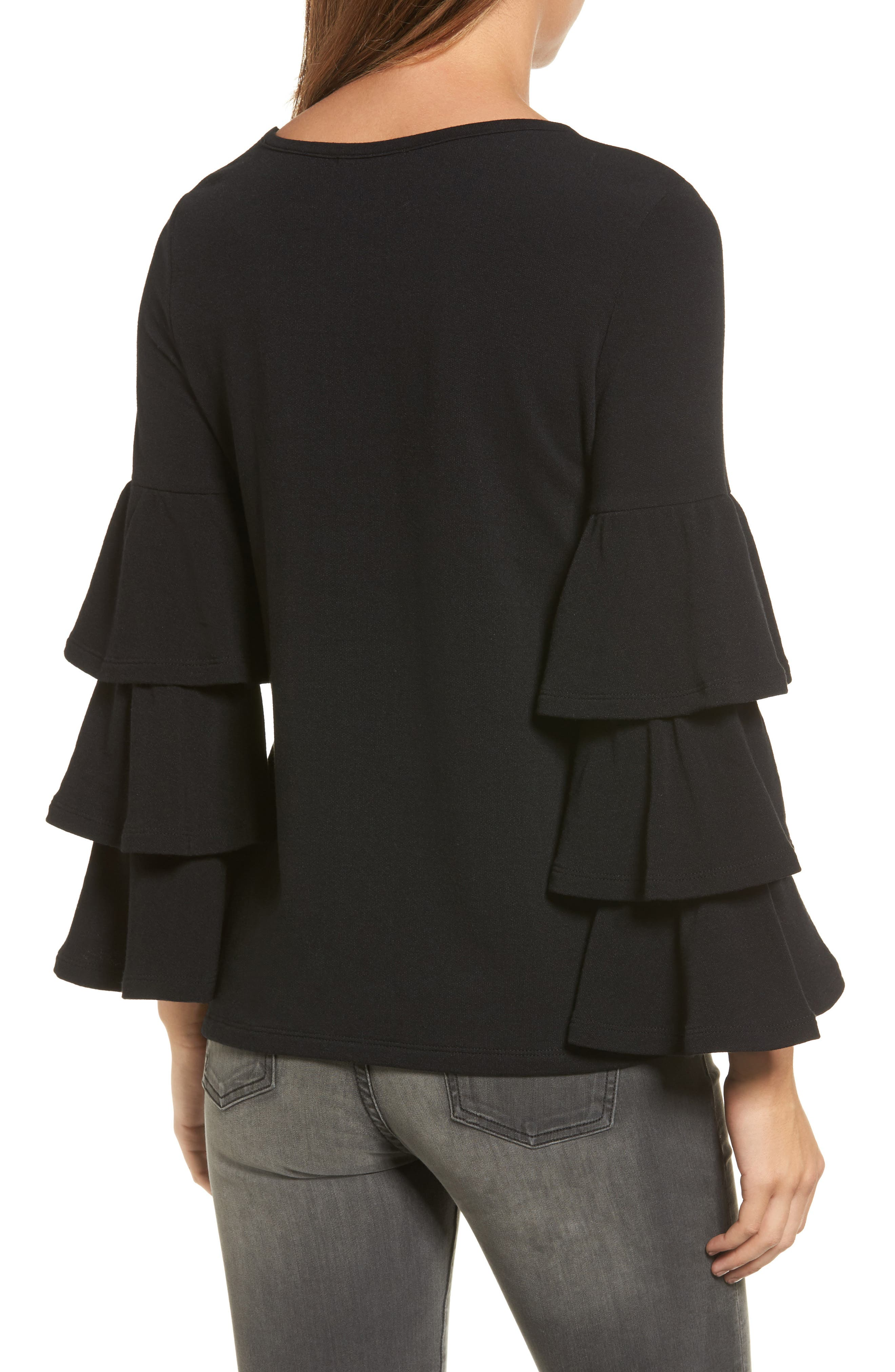 Alternate Image 2  - Pleione Tiered Bell Sleeve Knit Top (Regular & Petite)