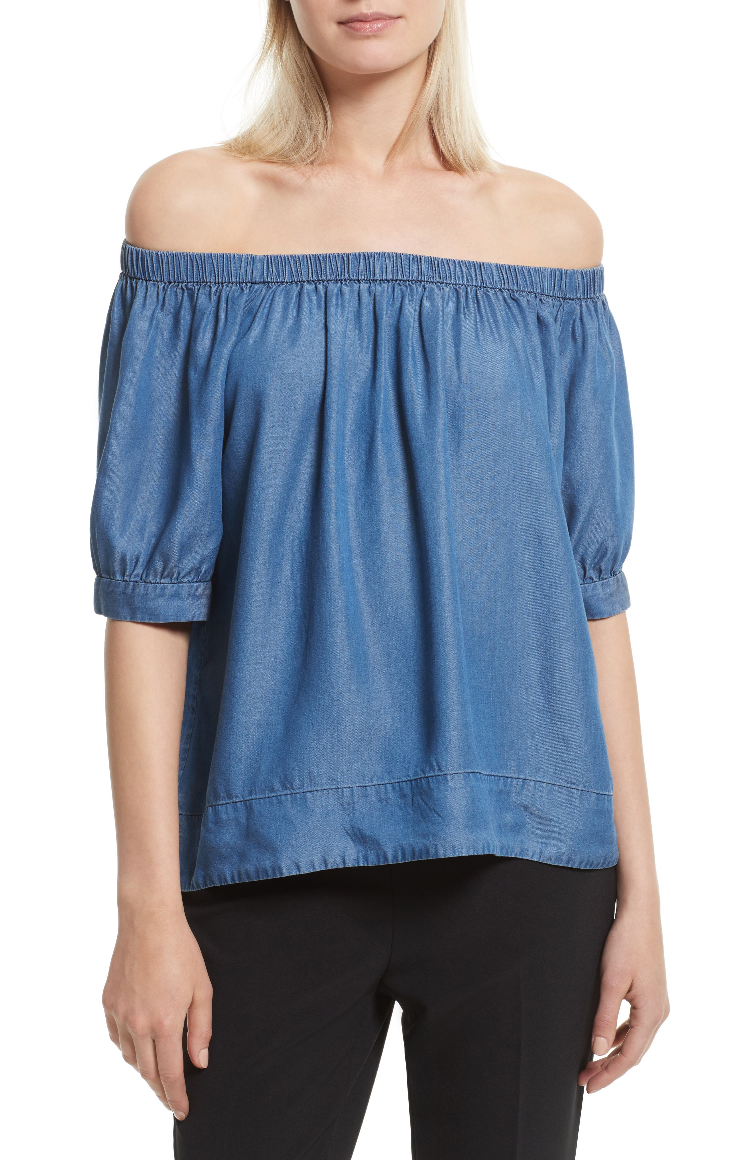 kate spade new york off the shoulder chambray top