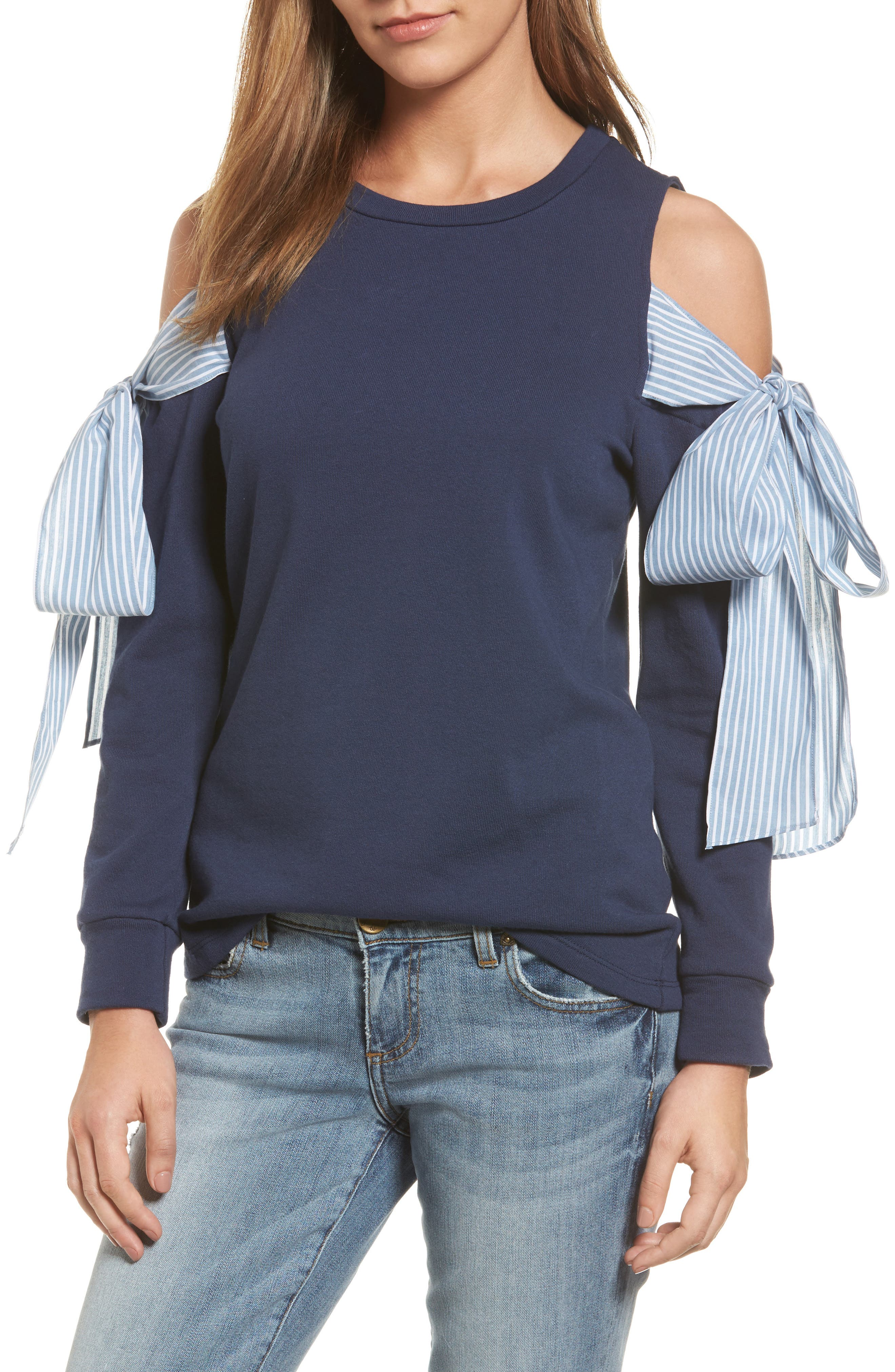 Pleione Cold Shoulder Tie Sleeve Sweatshirt (Regular & Petite)