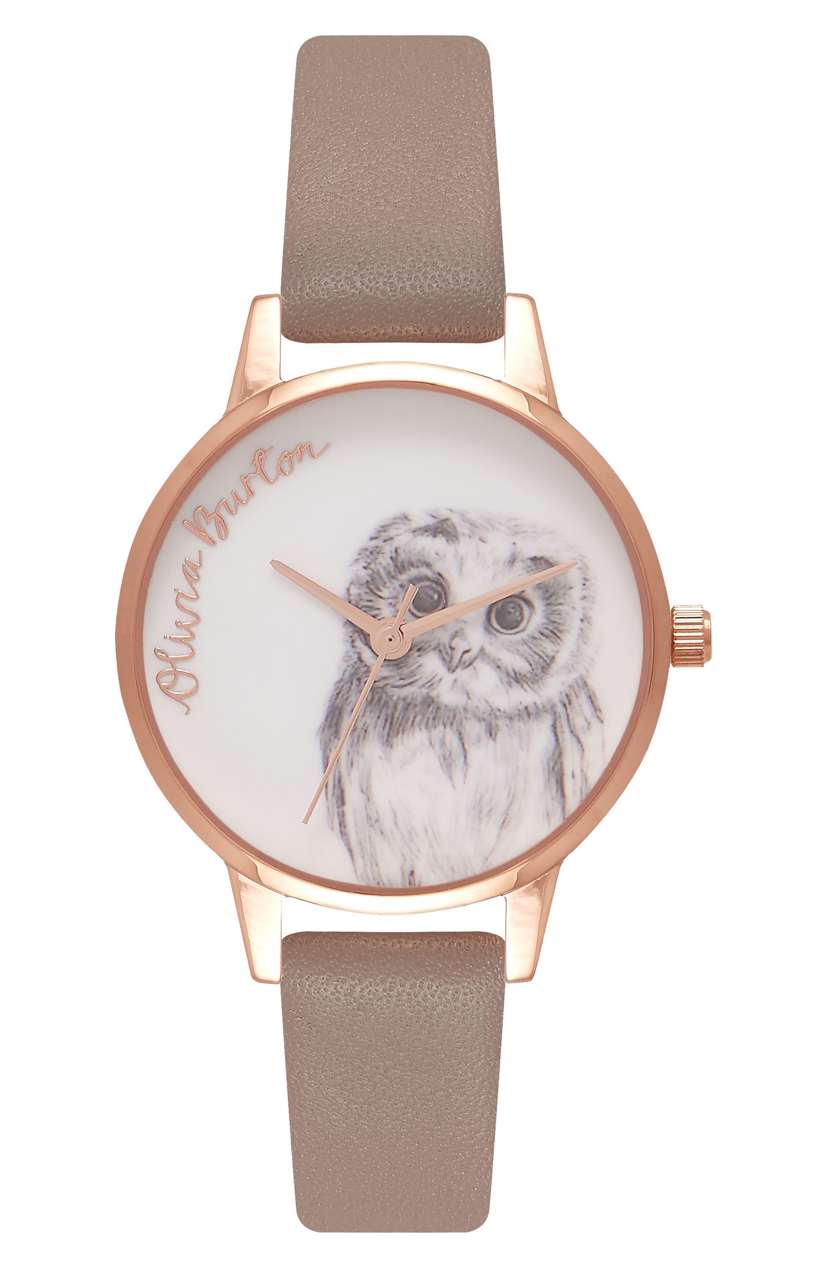 Olivia Burton Animal Motif Leather Strap Watch, 30mm