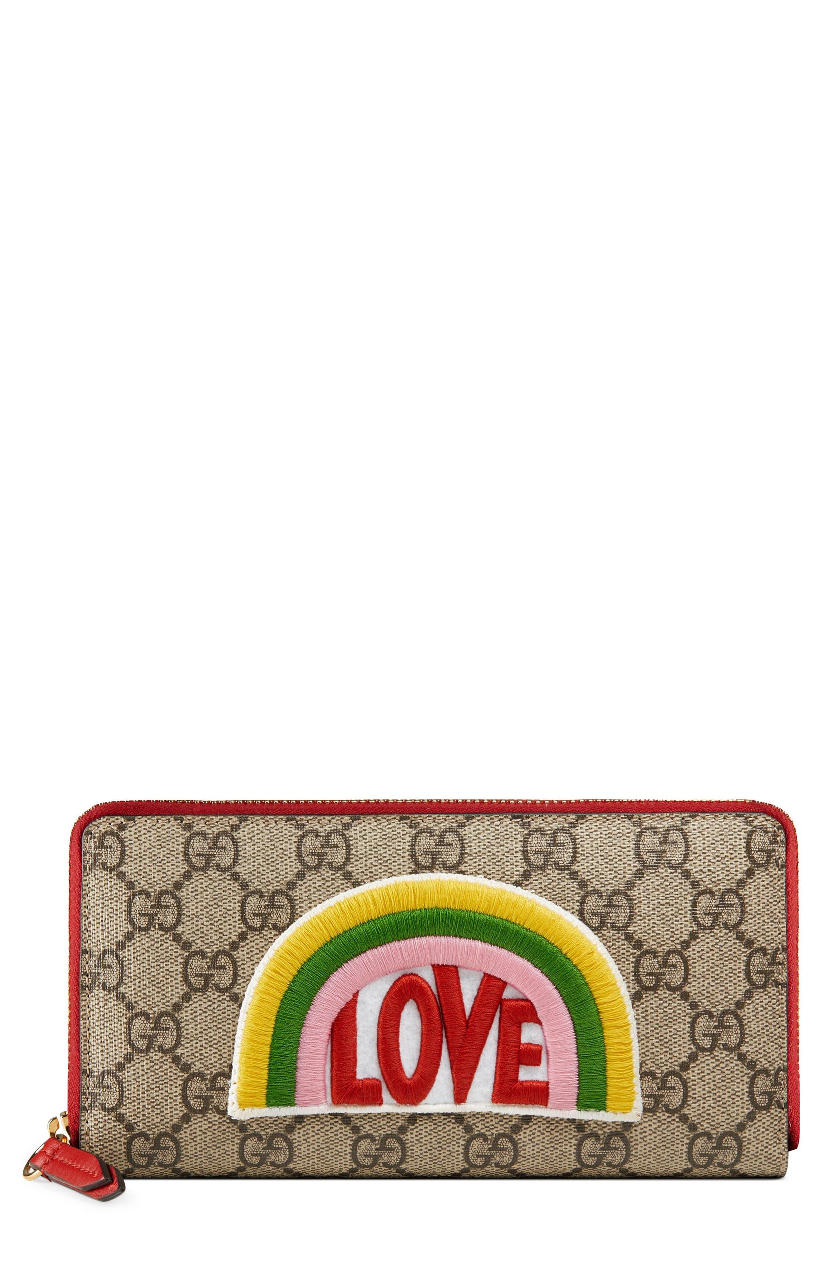 Gucci Embroidered Love Patch GG Supreme Zip Around Wallet