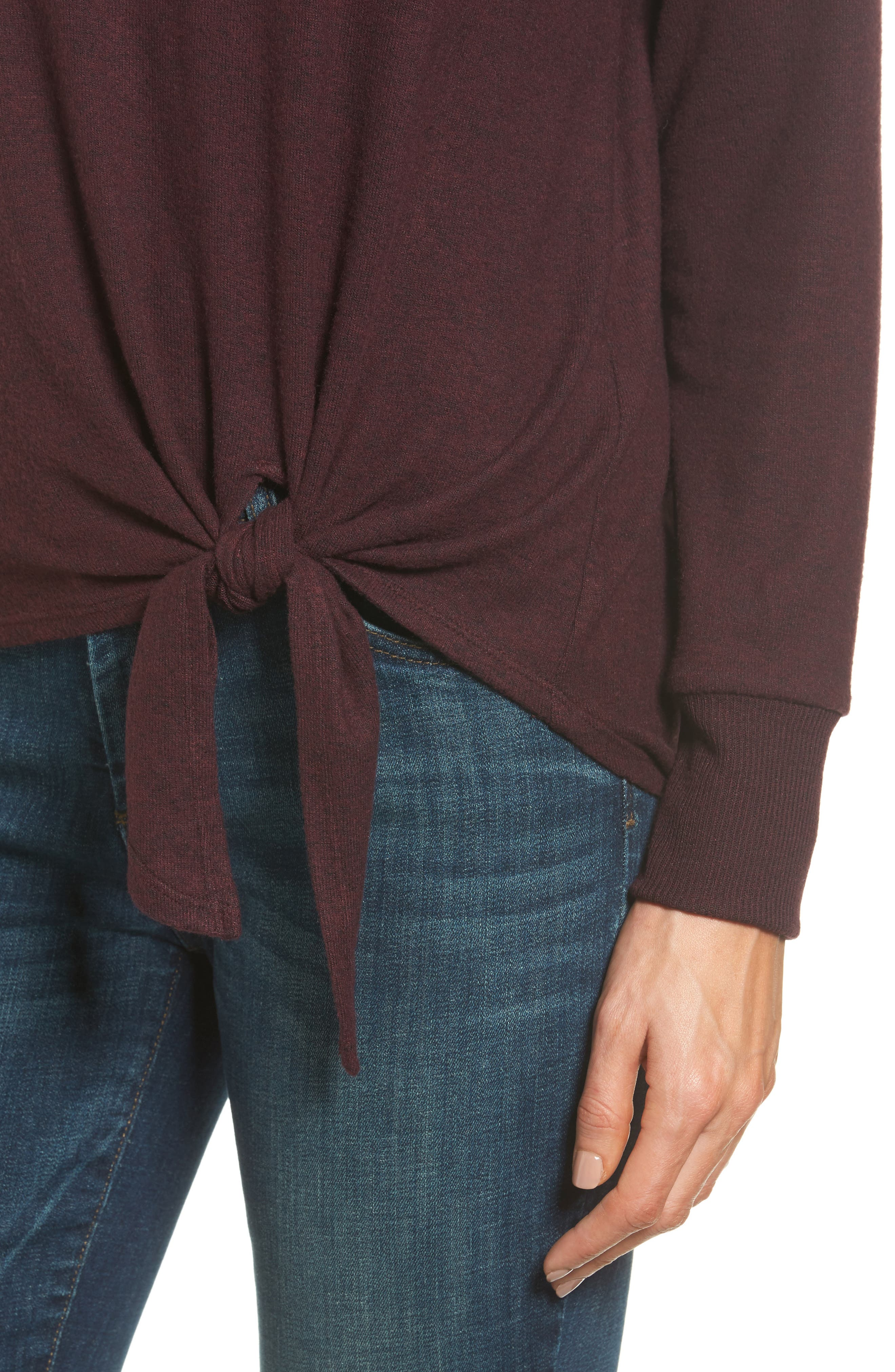 Alternate Image 4  - Gibson Tie Front Cozy Fleece Pullover (Regular & Petite)