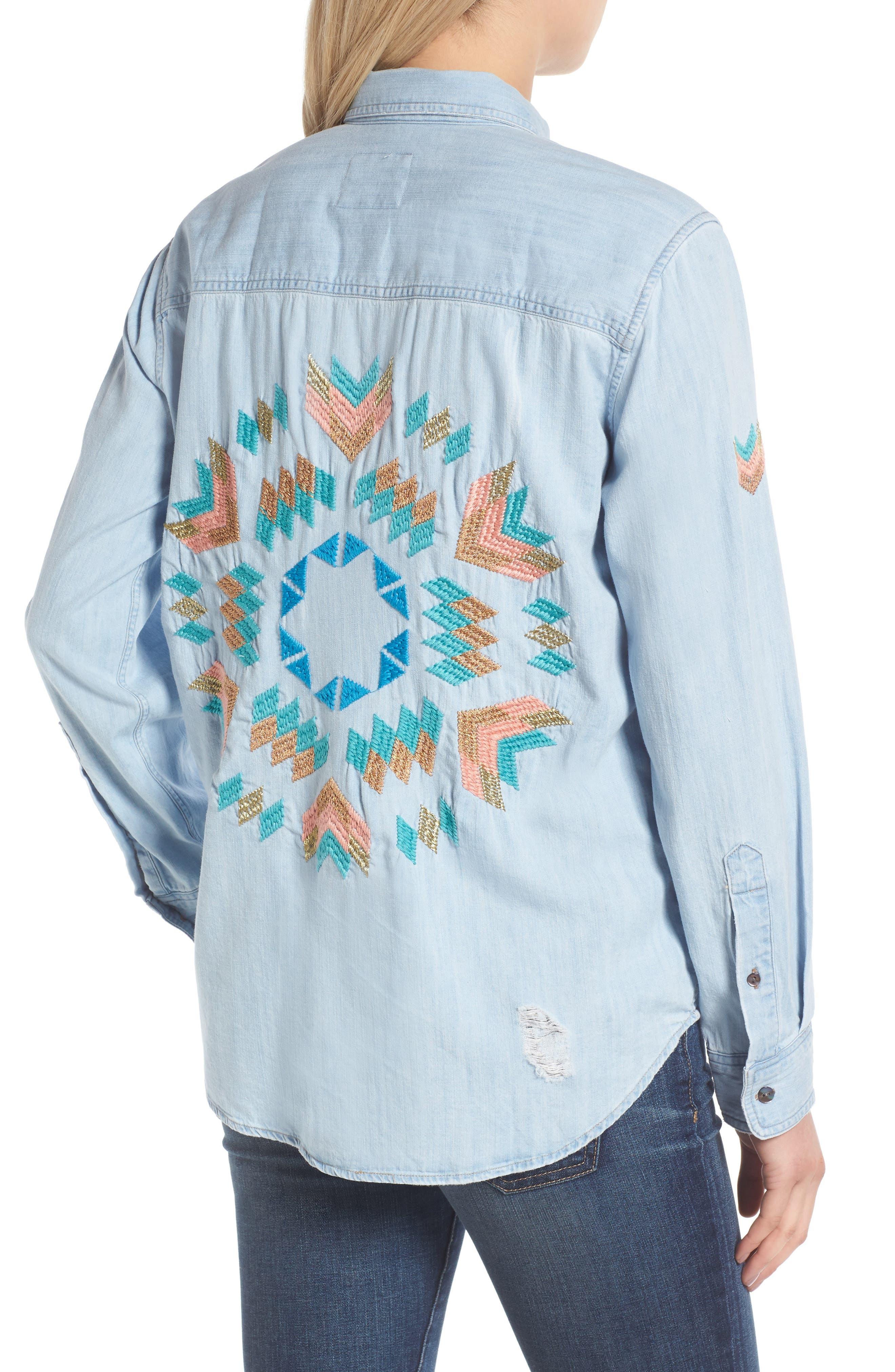 Rails Brett Embroidered Chambray Shirt