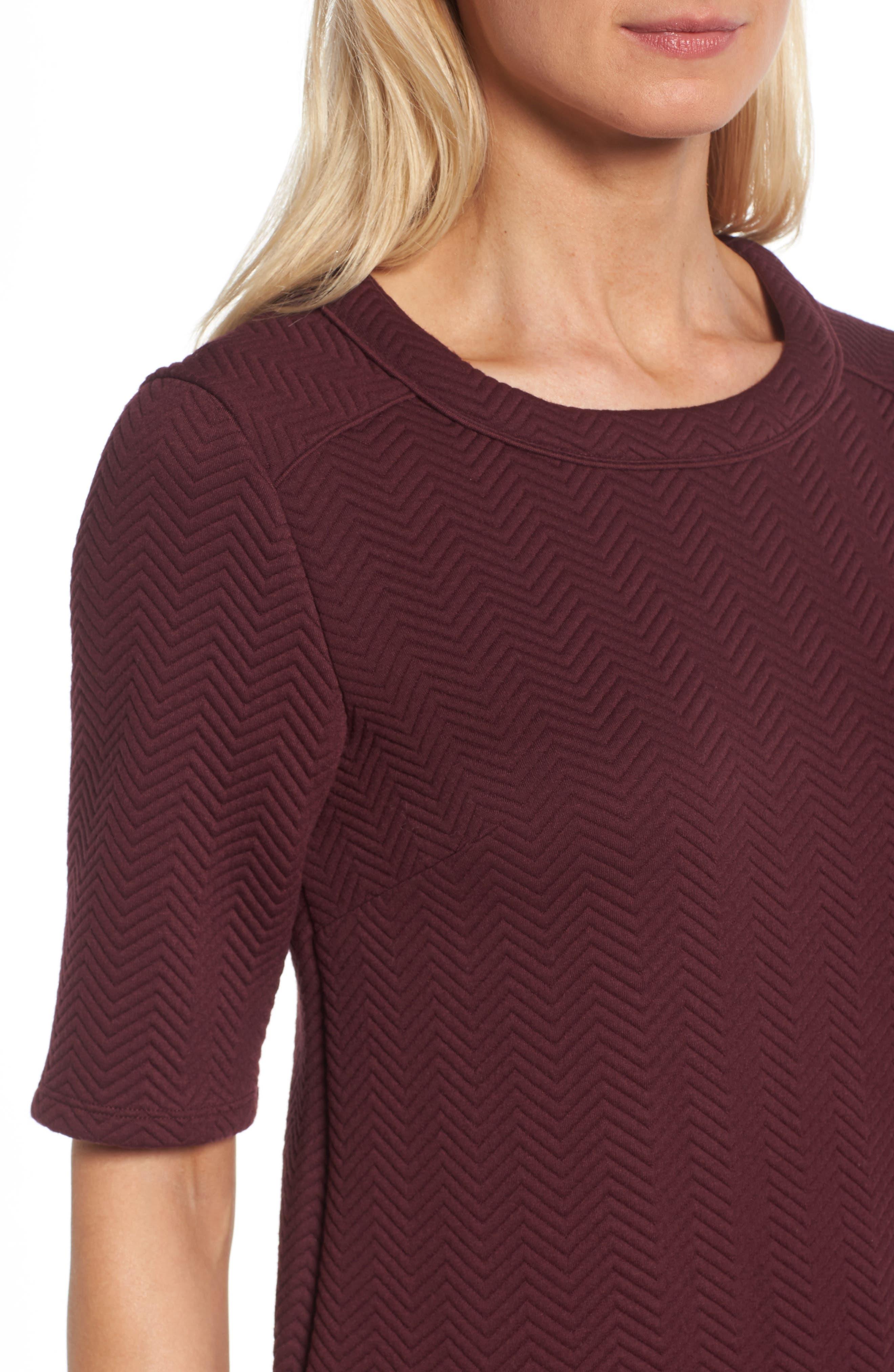 Alternate Image 4  - Halogen® Textured Elbow Sleeve Tunic Dress (Regular & Petite)