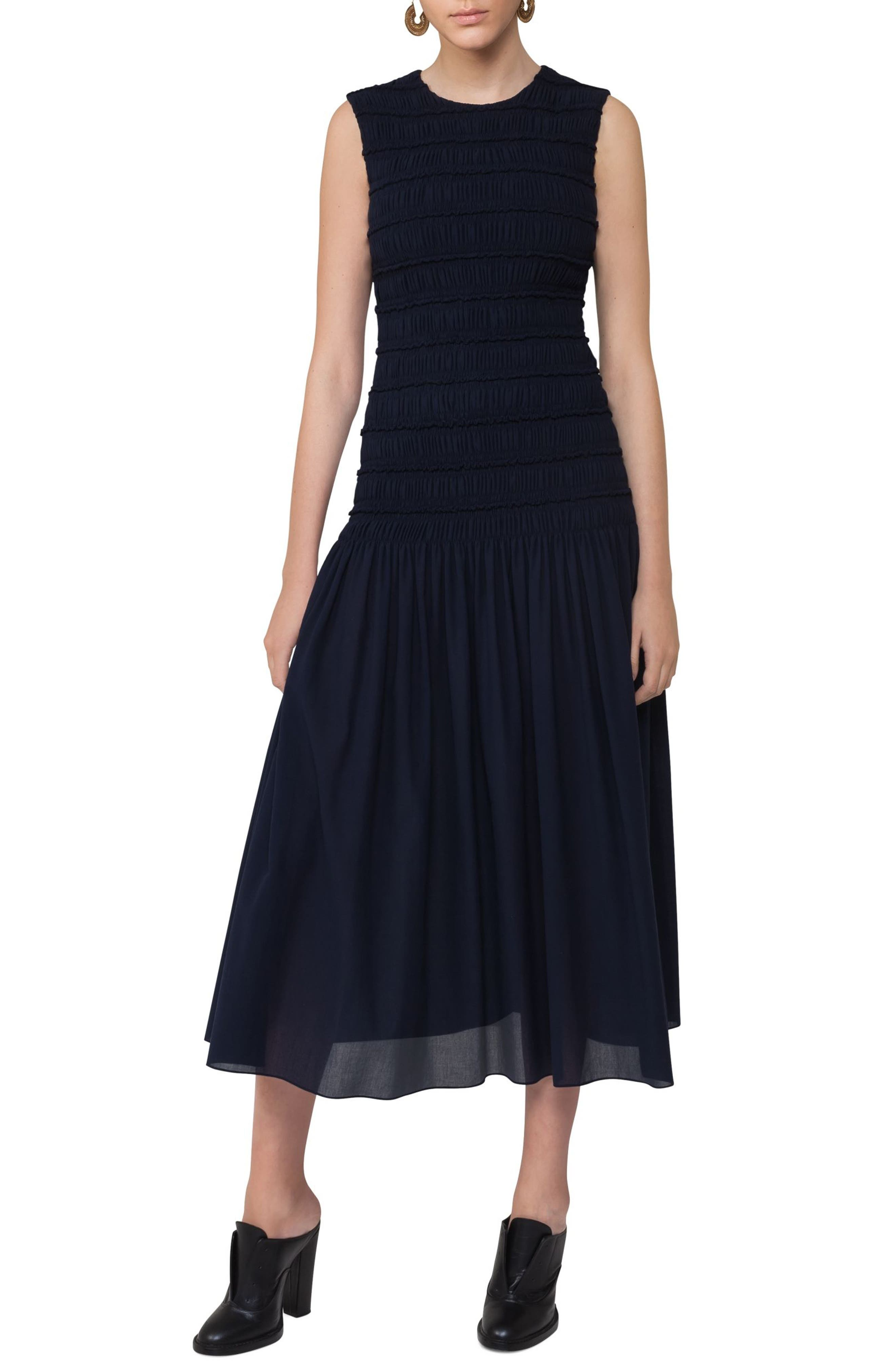 Akris punto Smocked Bodice Midi Dress