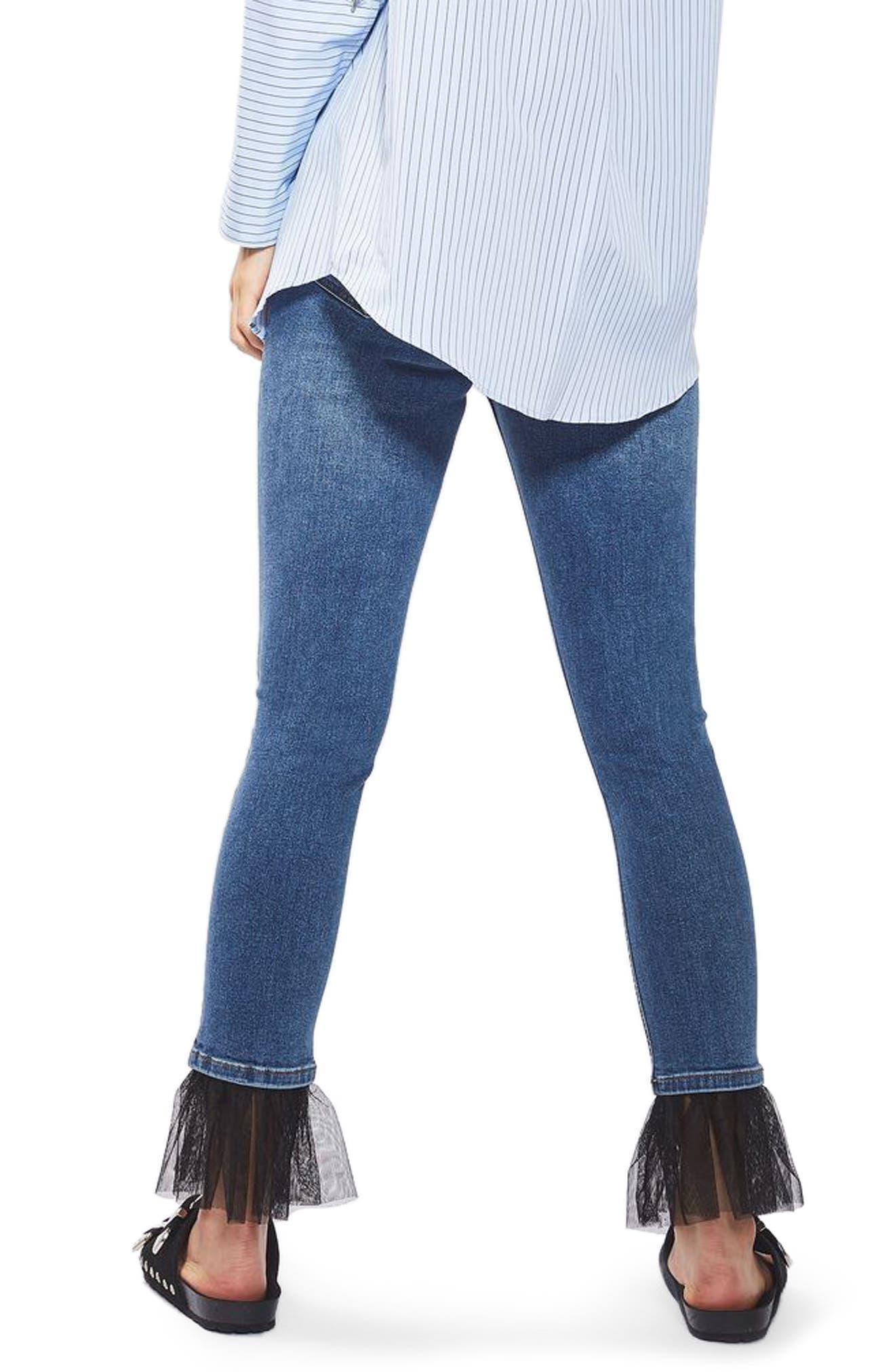 Alternate Image 3  - Topshop Jamie Tulle Hem Skinny Jeans