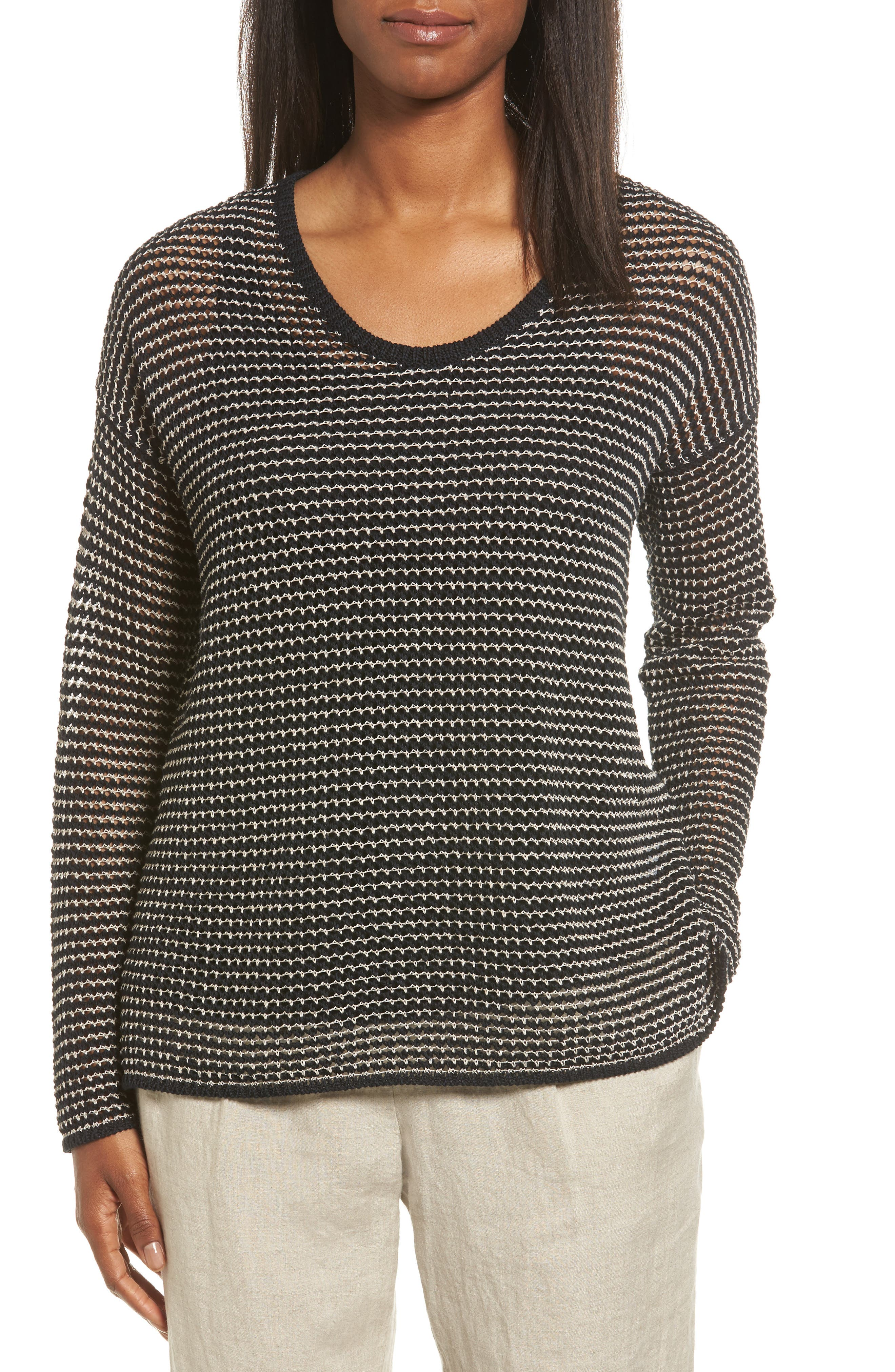 Eileen Fisher Organic Cotton Blend Two-Tone Sweater