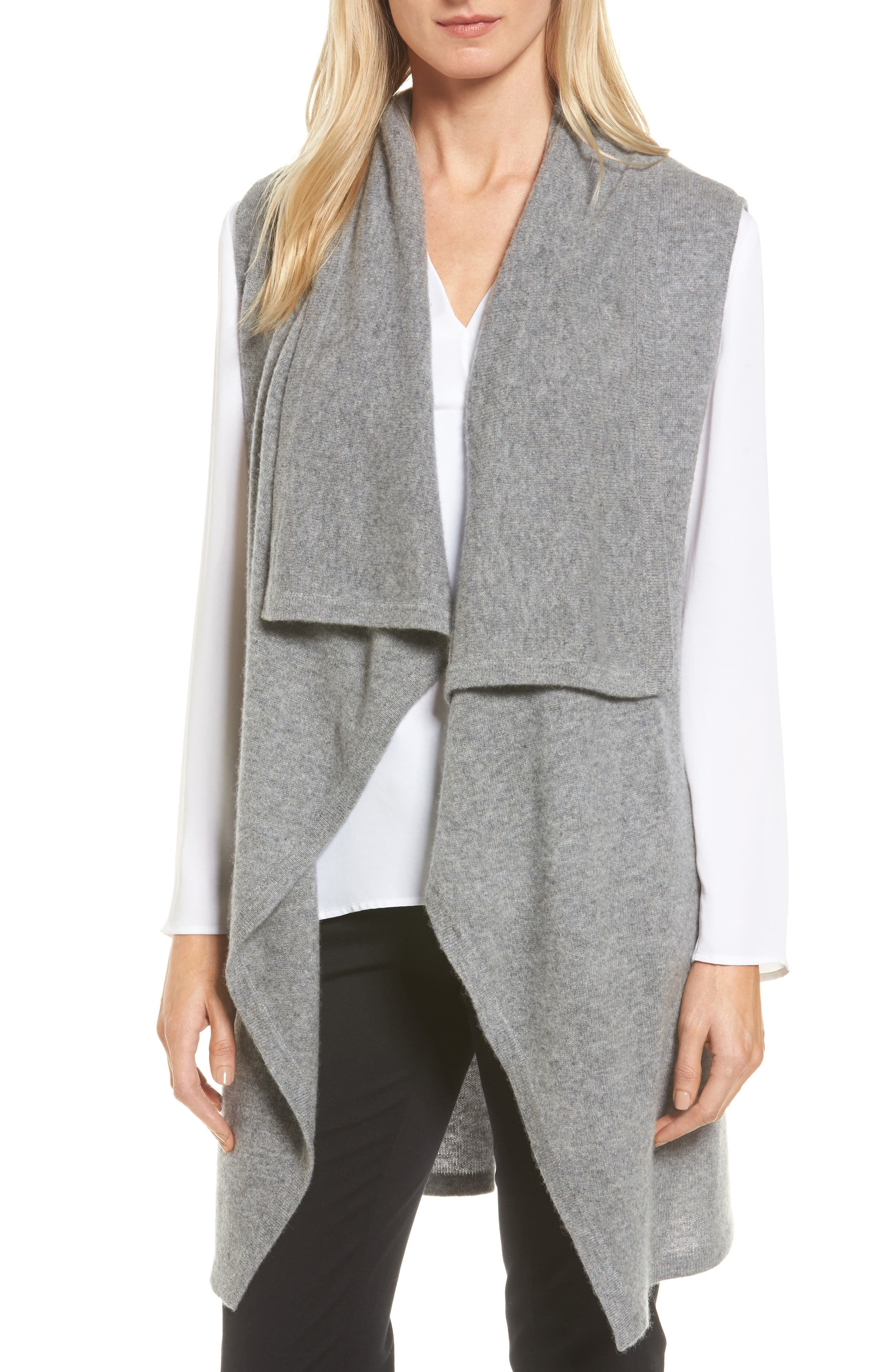 Halogen® Waterfall Drape Front Cashmere Vest