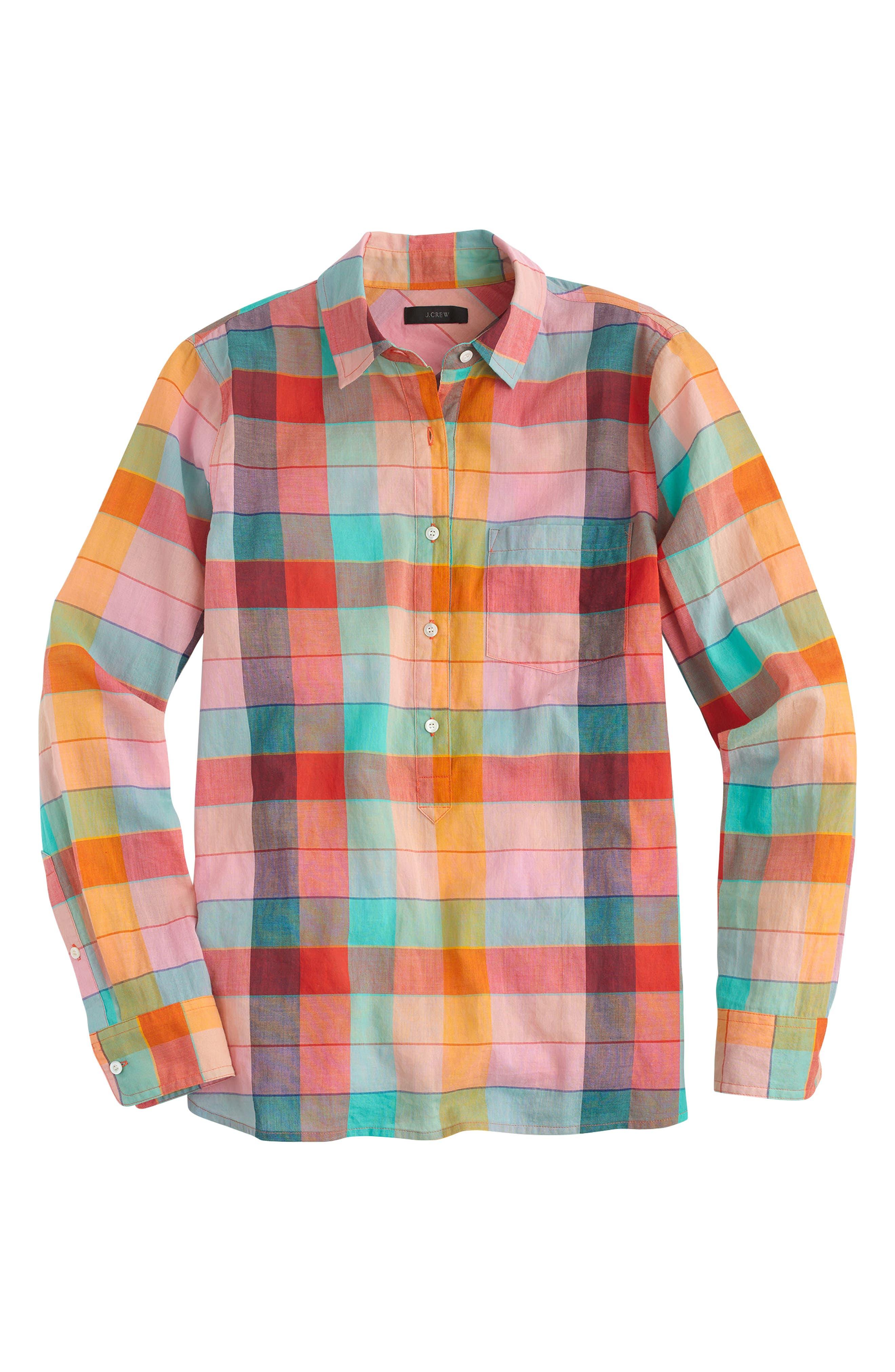 Alternate Image 3  - J.Crew Rainbow Vintage Plaid Lightweight Popover Shirt (Regular & Petite)