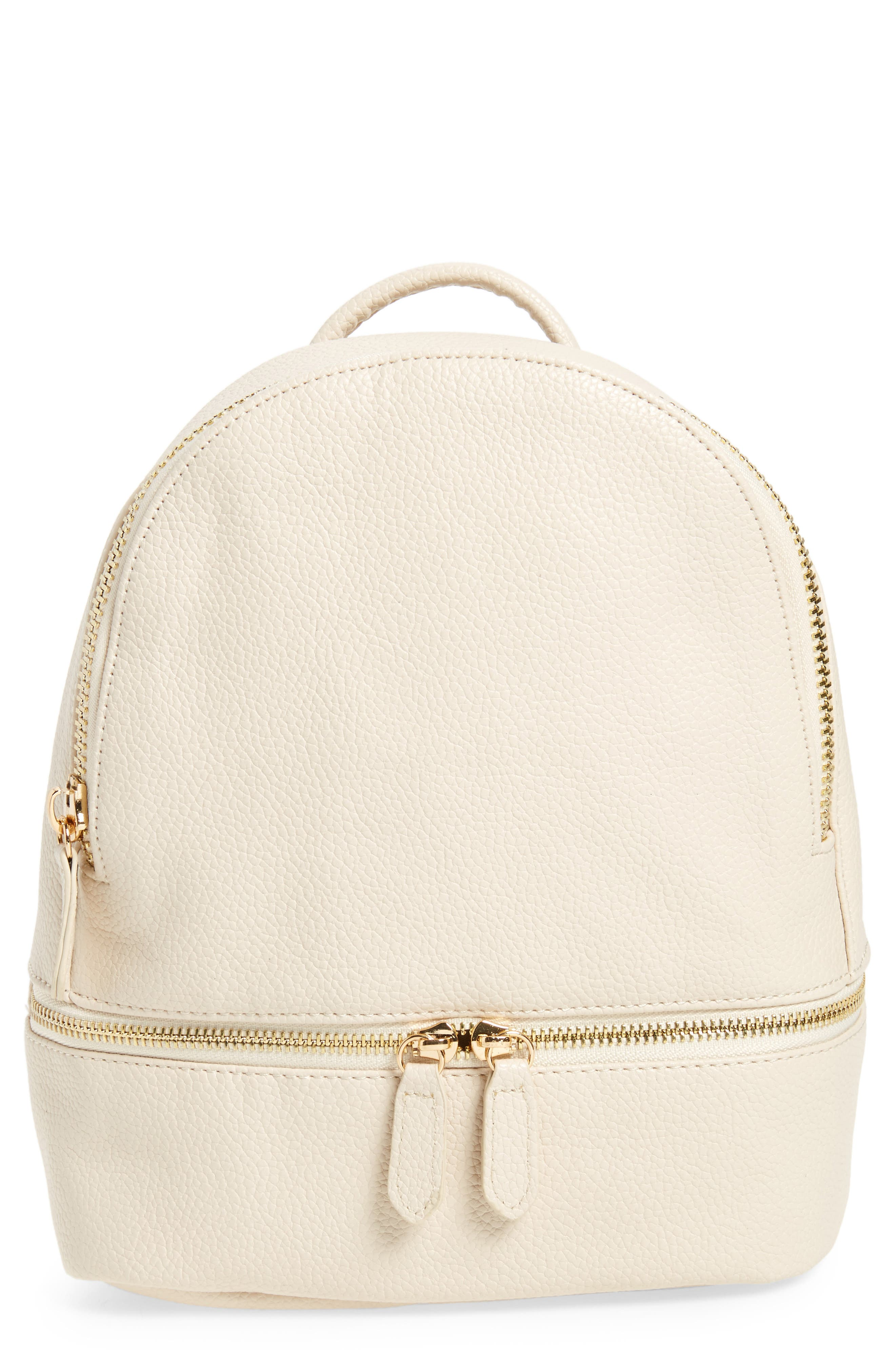 Main Image - Girly Faux Leather Mini Zip Backpack
