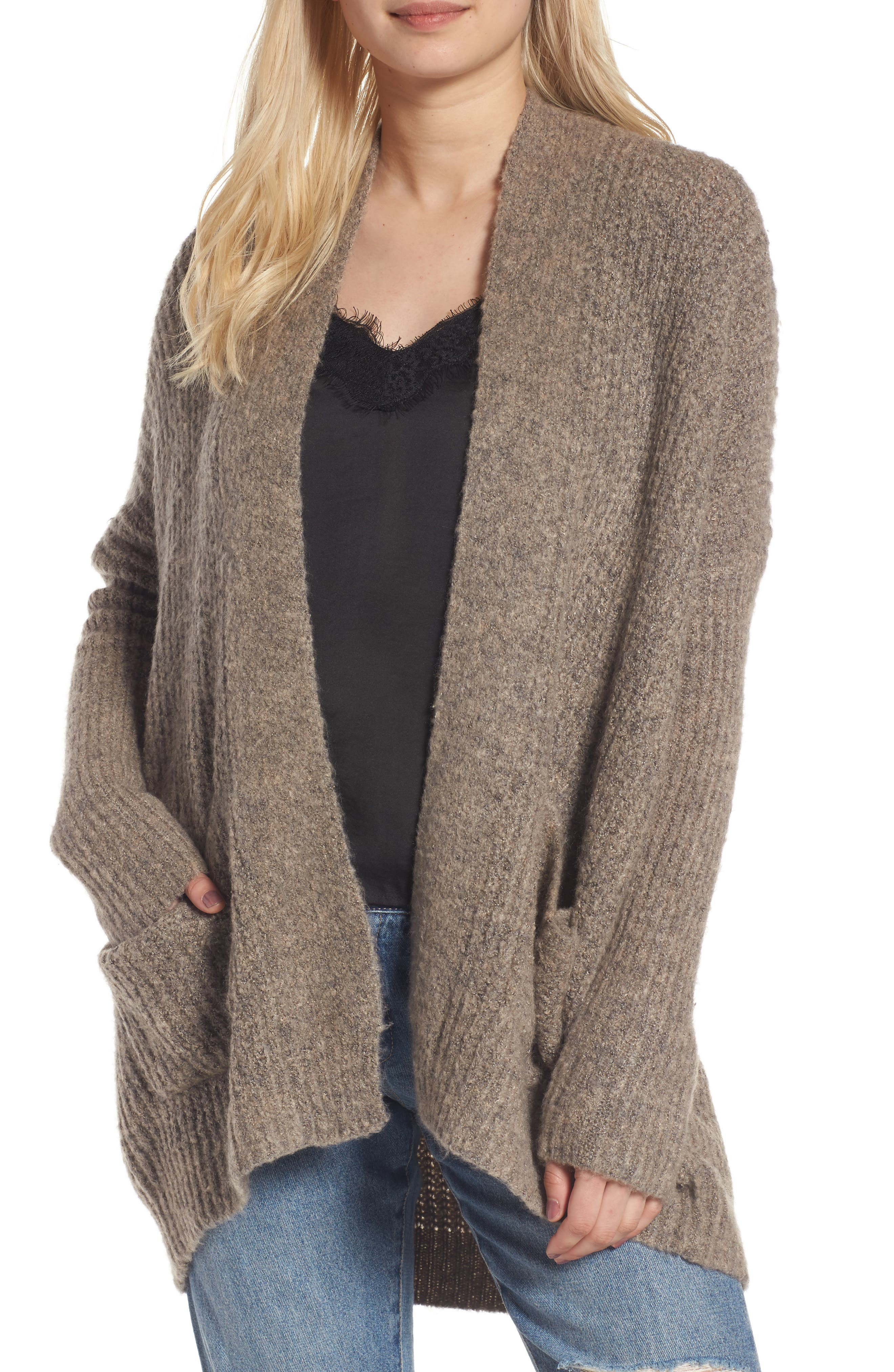 Main Image - Dreamers by Debut Rib Knit Open Cardigan