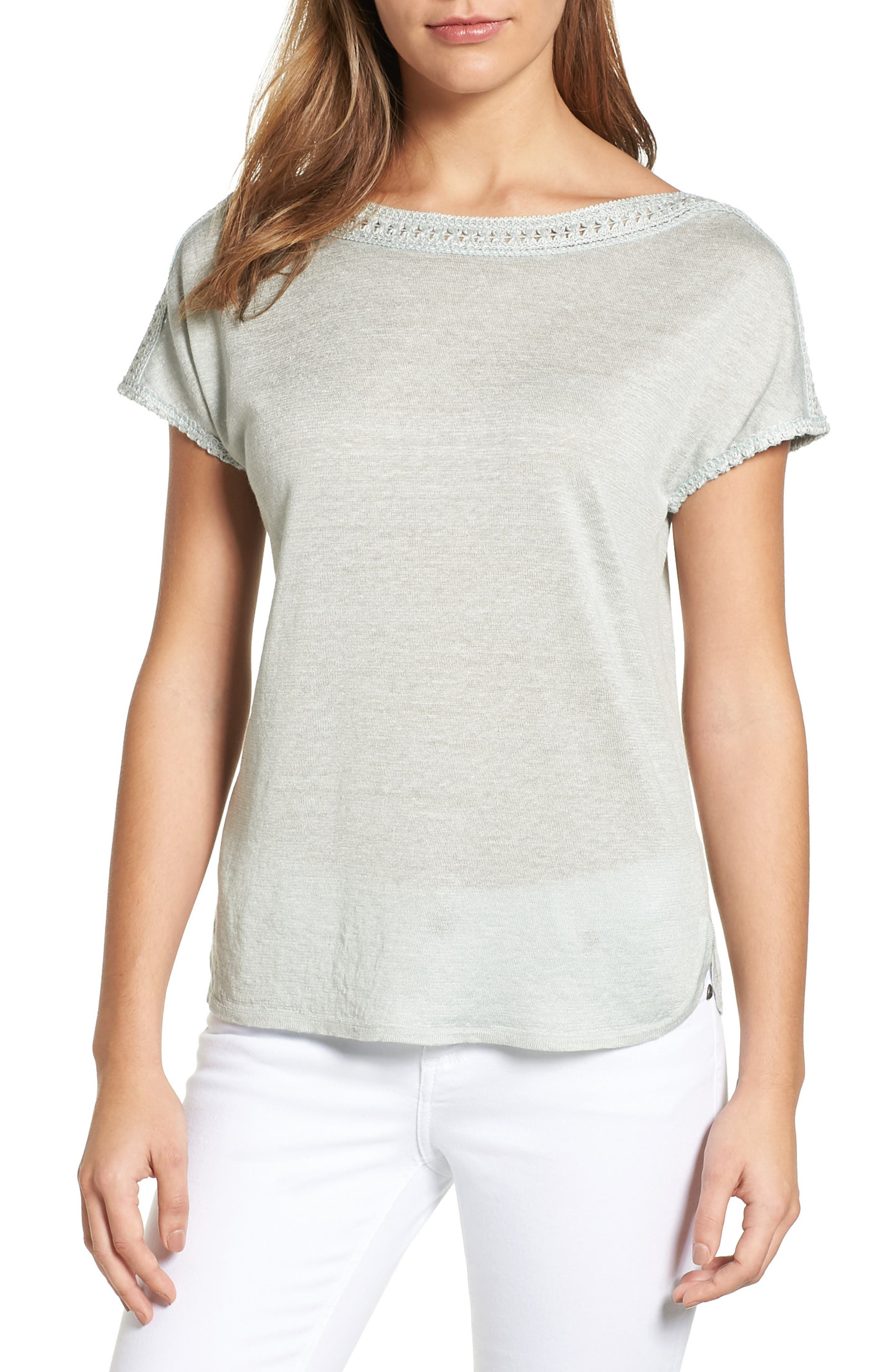 NIC+ZOE Crochet Trim Linen Blend Top (Regular & Petite)