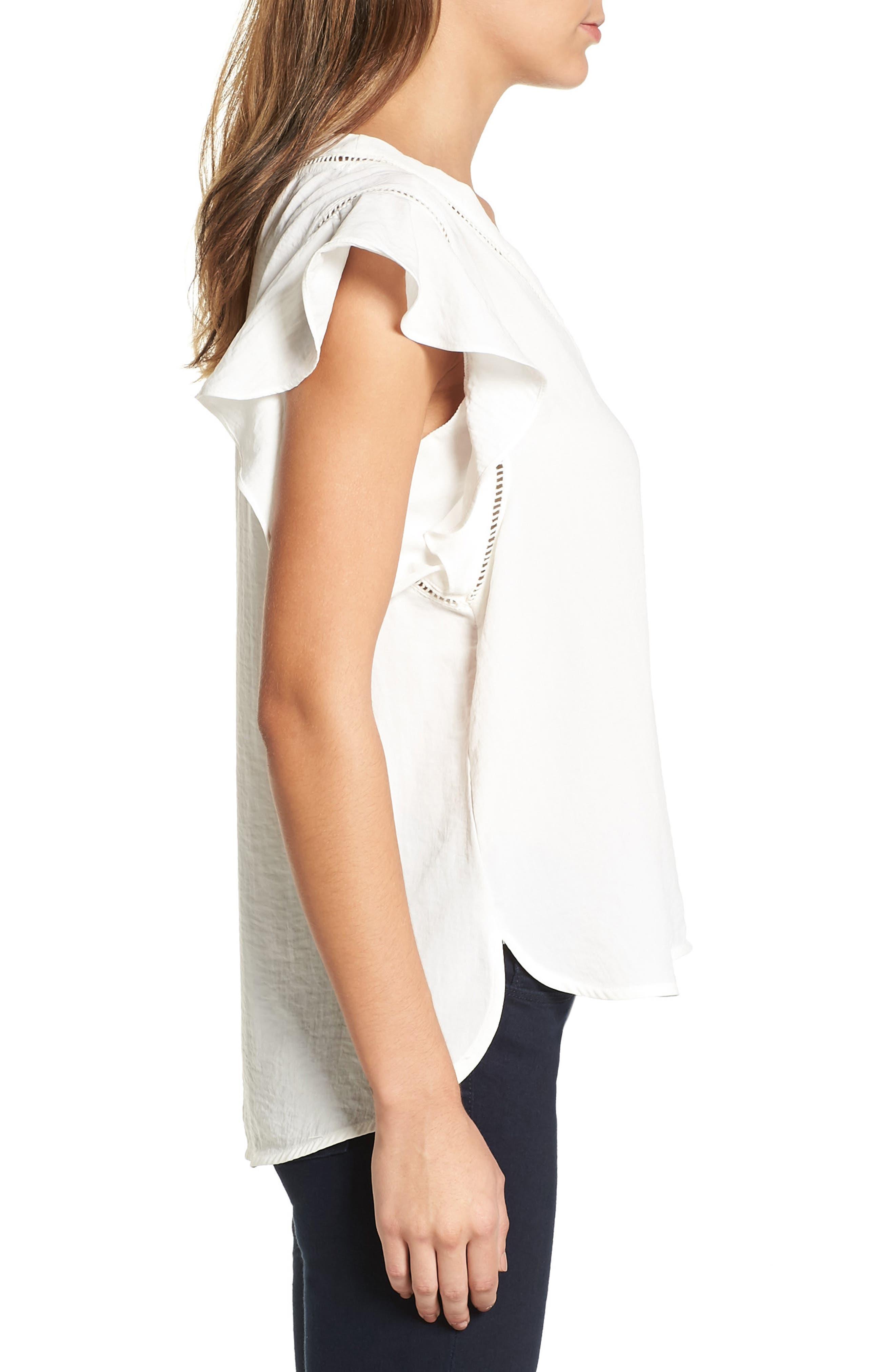 Alternate Image 3  - Halogen® Flutter Sleeve Top (Regular & Petite)